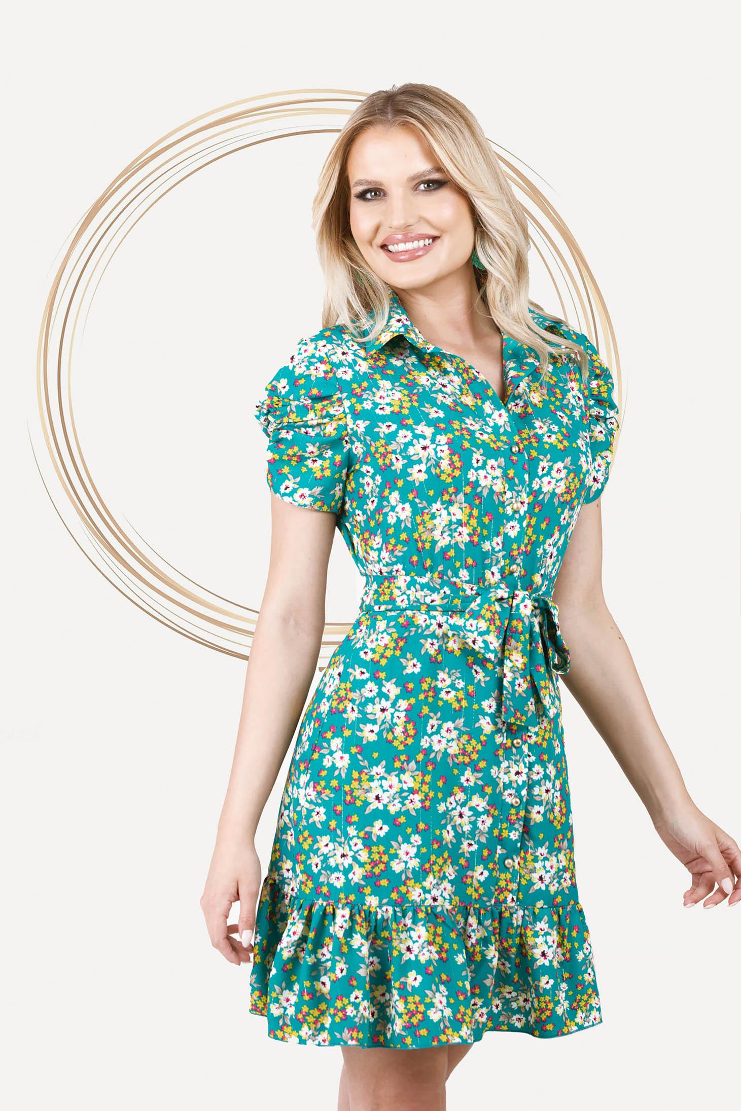 Dress short cut thin fabric short sleeves
