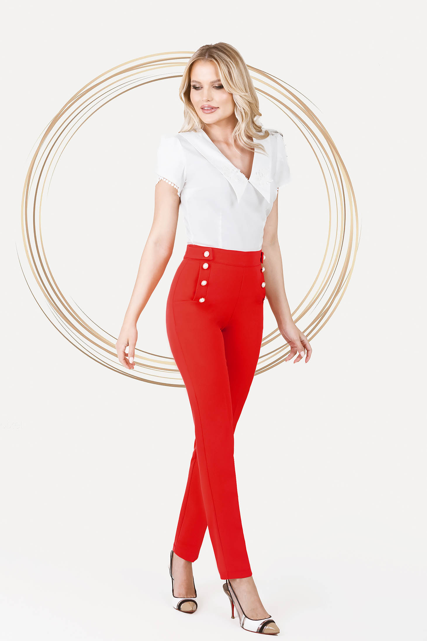 Red trousers office conical medium waist with pockets with pearls