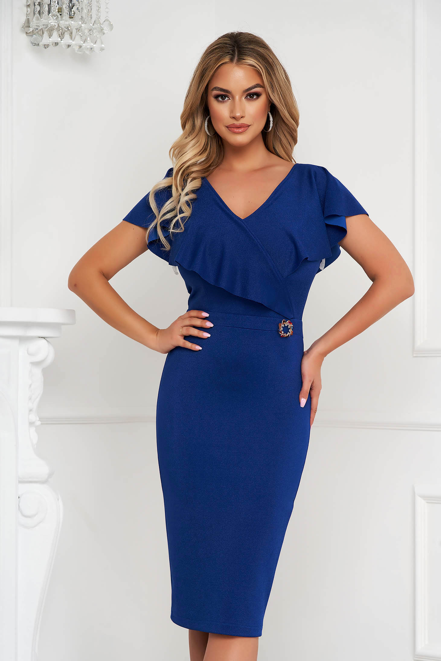 StarShinerS blue dress midi pencil from elastic fabric frilly trim around cleavage line