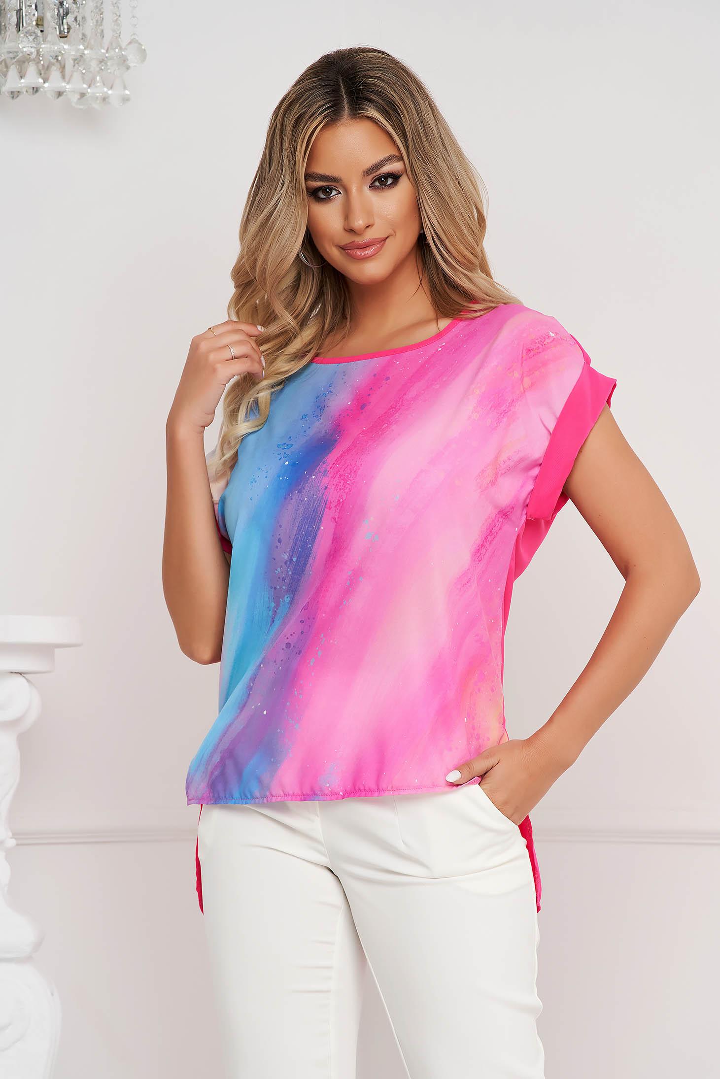 Bluza dama StarShinerS cu croi larg asimetrica din voal cu imprimeuri grafice unice