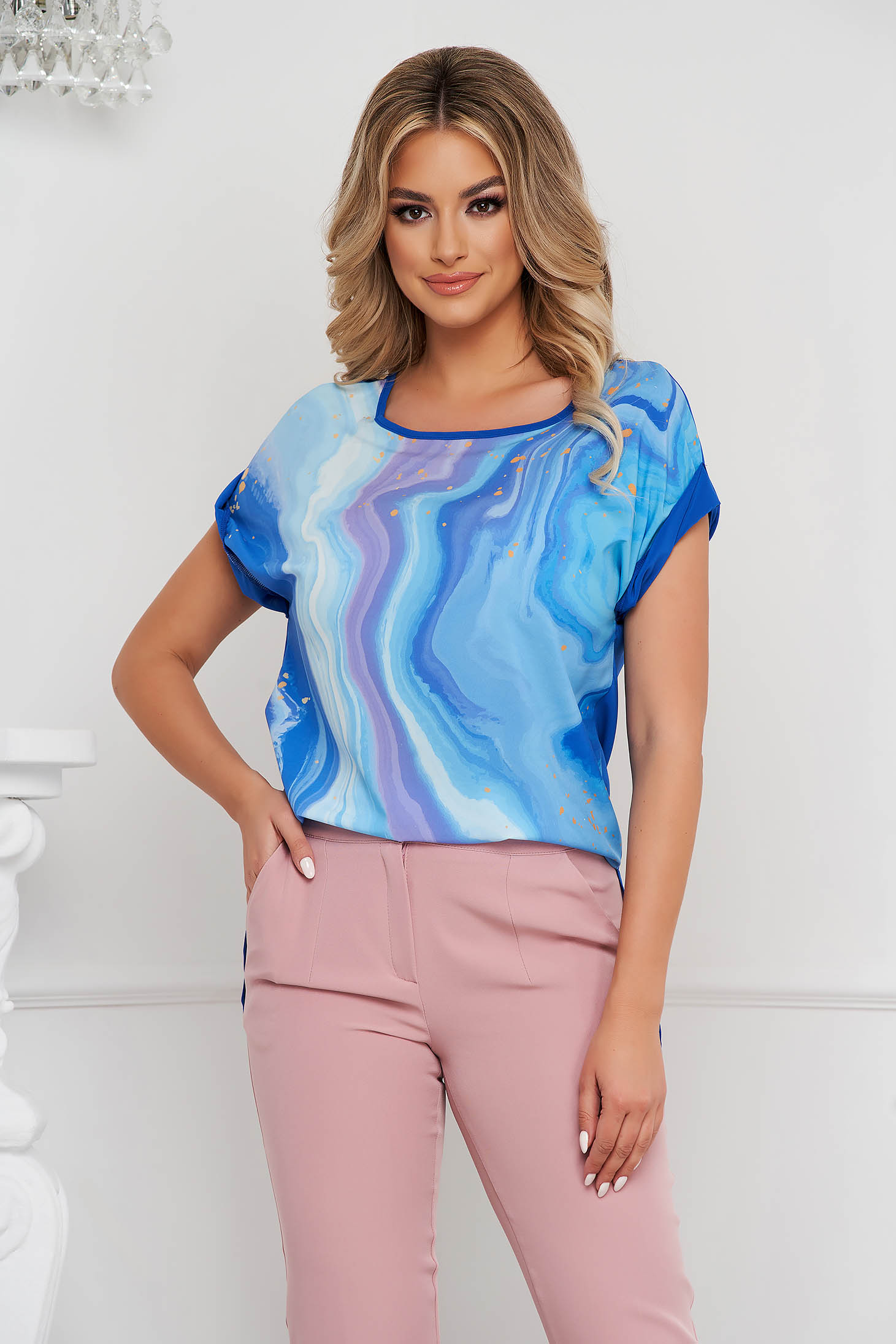 StarShinerS women`s blouse loose fit from veil fabric asymmetrical with graphic details