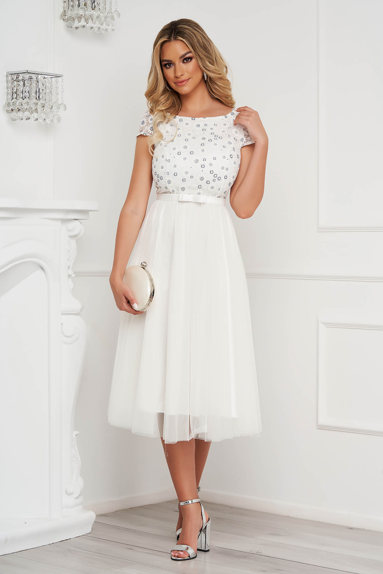 StarShinerS ivory dress midi cloche bare back from tulle occasional laced