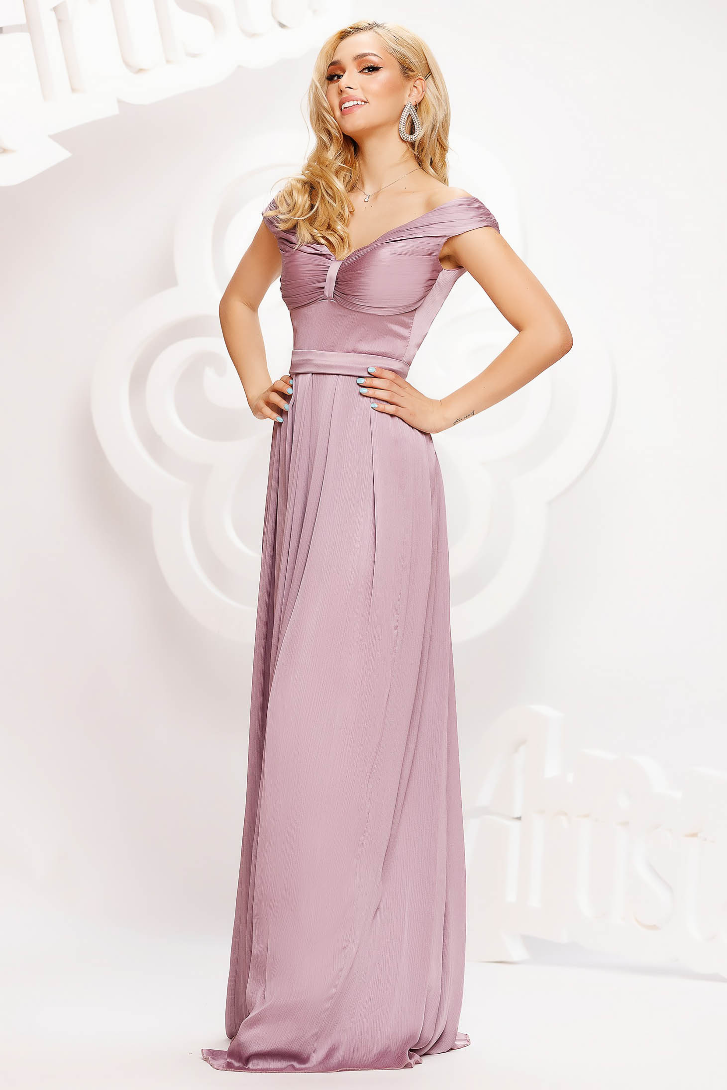 Lightpink dress long occasional cloche from satin naked shoulders