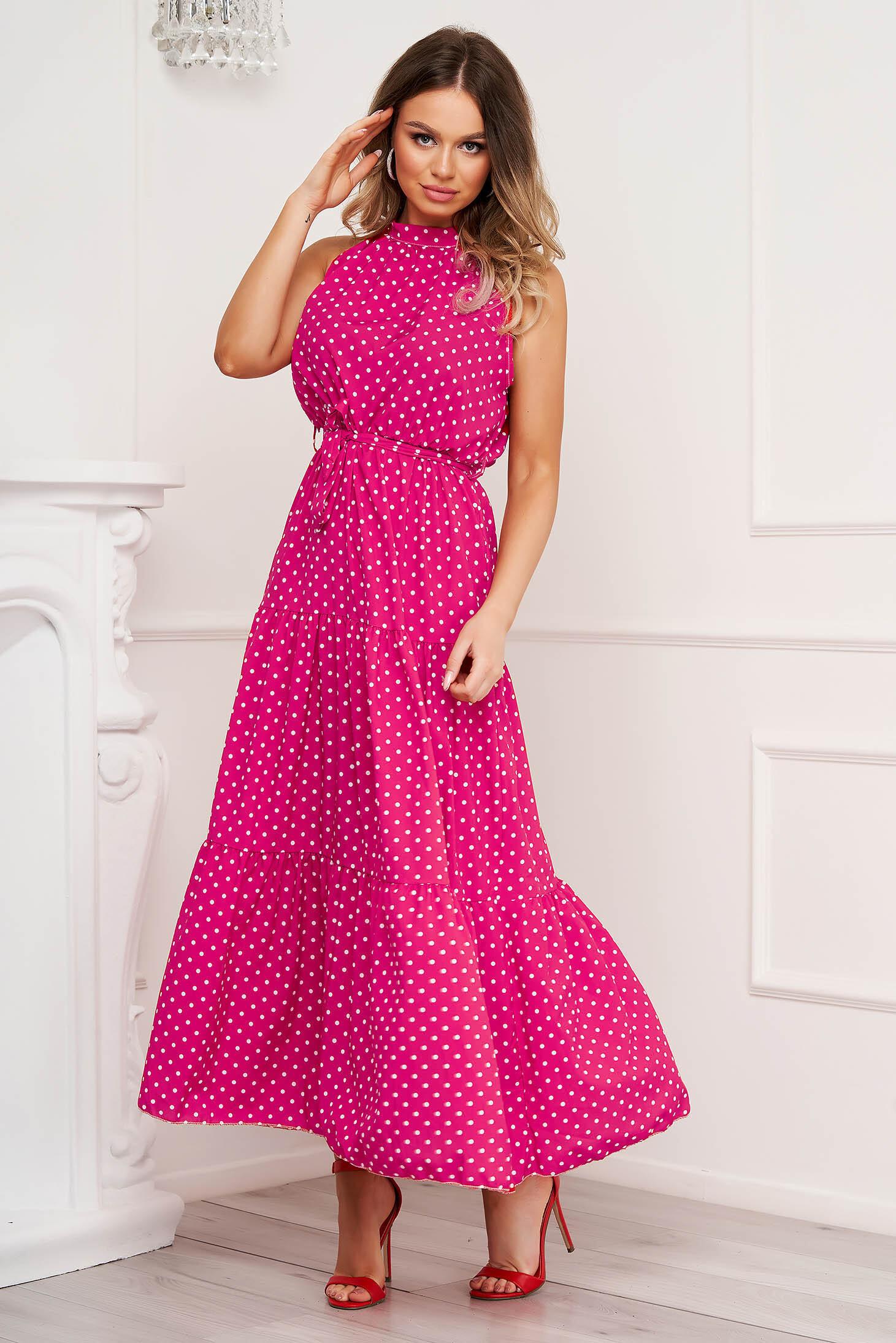 Fuchsia dress dots print cloche airy fabric halter neck