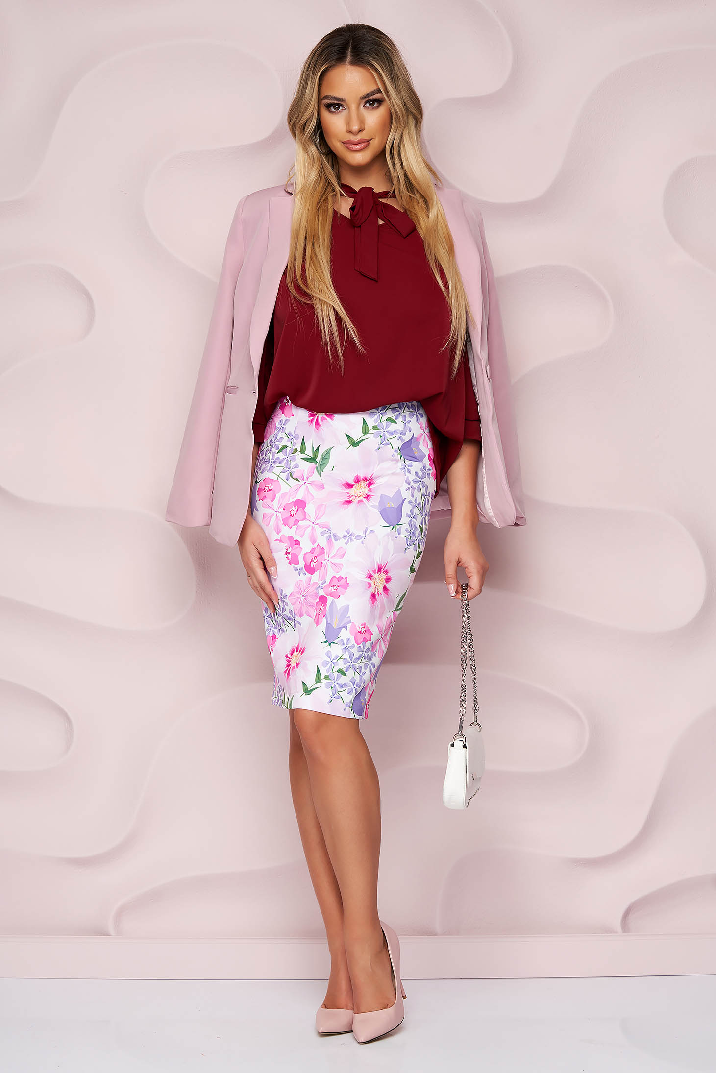 StarShinerS skirt office midi pencil cloth from elastic fabric with floral print