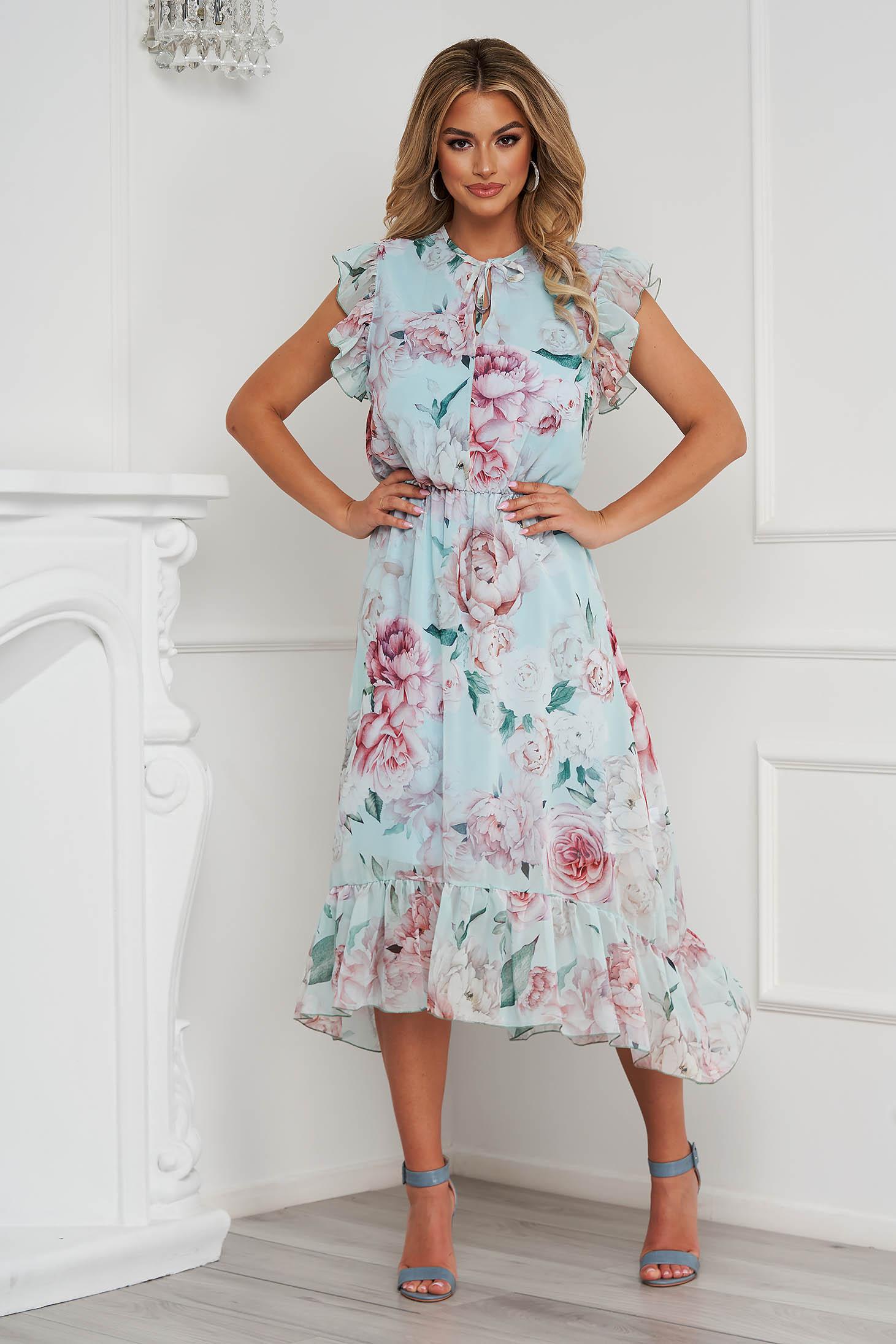 Dress midi asymmetrical cloche airy fabric with ruffled sleeves