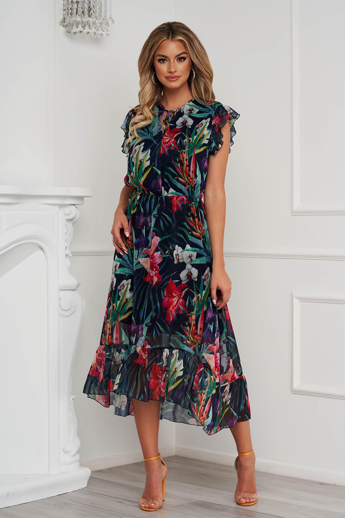 StarShinerS dress midi asymmetrical cloche airy fabric with ruffled sleeves