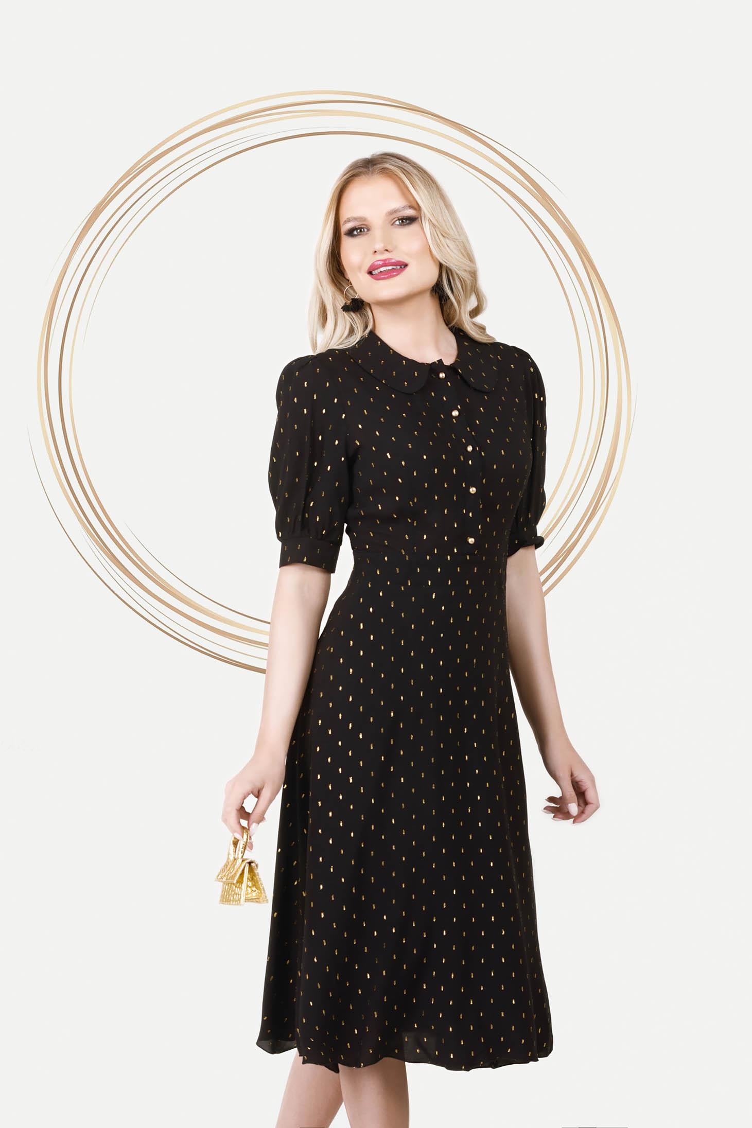 Fekete bő ujjú elegáns midi harang ruha vékony anyagból
