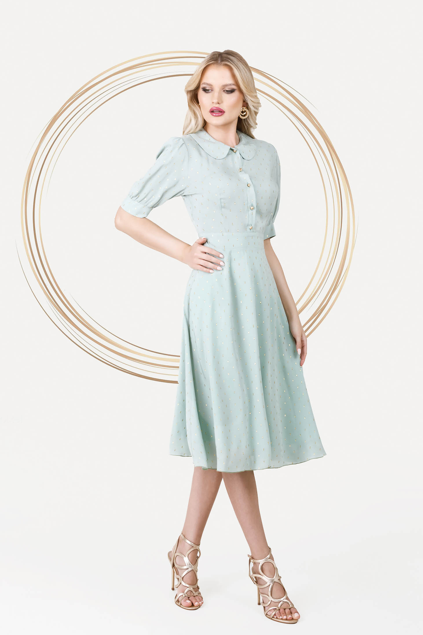 Mint dress elegant midi cloche airy fabric with puffed sleeves