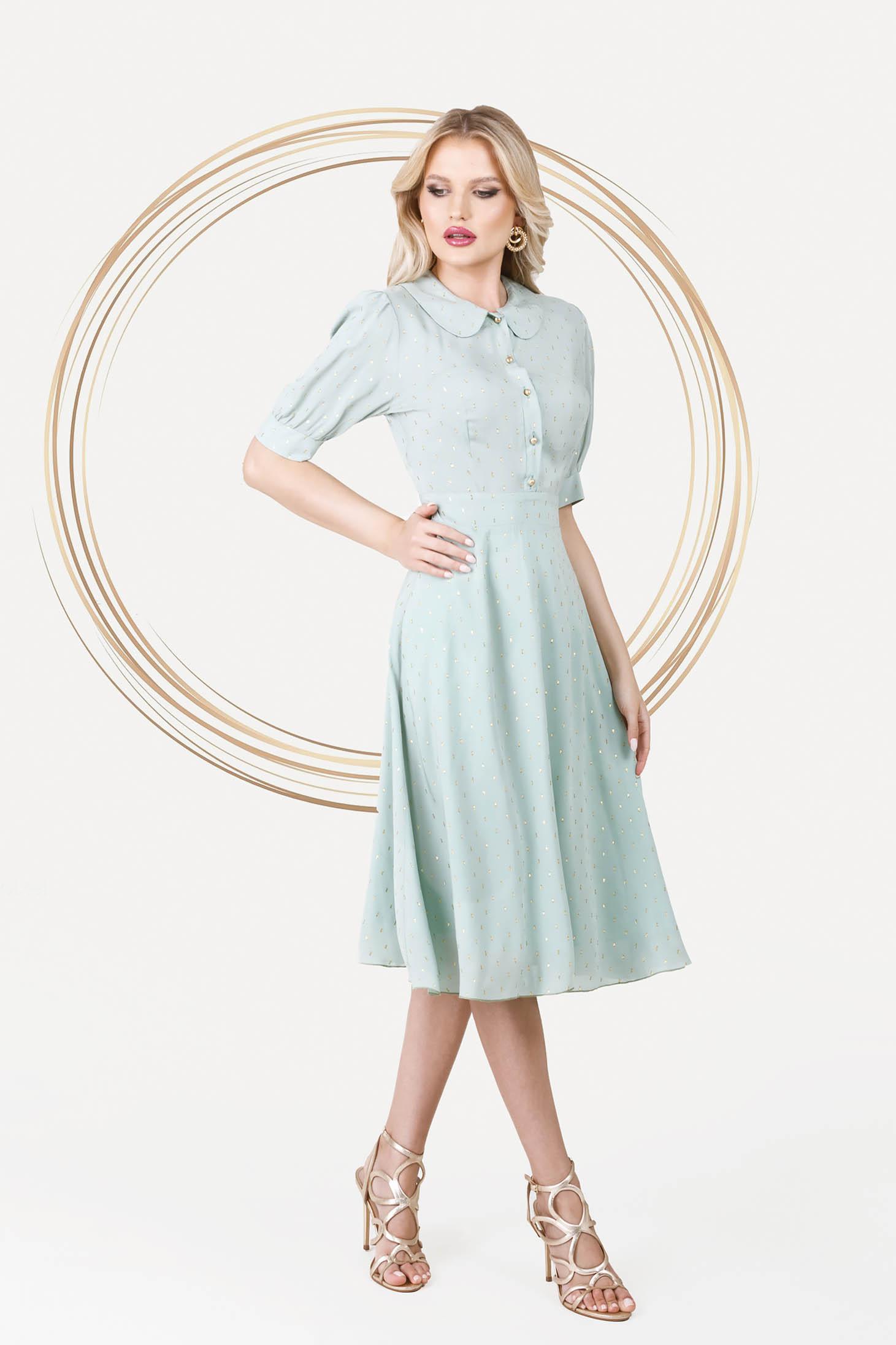 Rochie PrettyGirl mint eleganta midi in clos din material vaporos cu maneci bufante