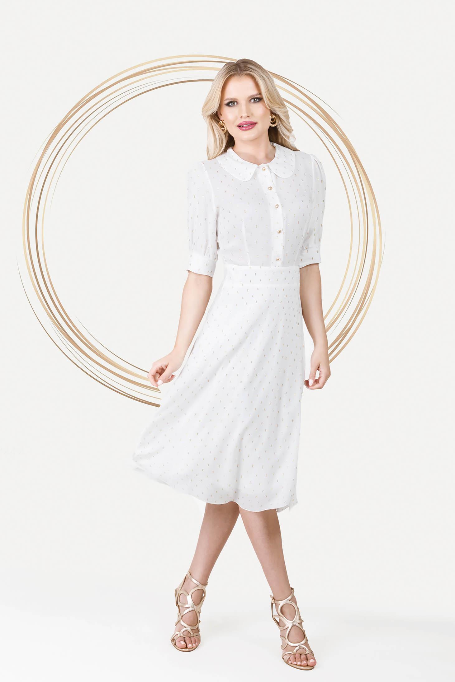 Rochie PrettyGirl alba eleganta midi in clos din material vaporos cu maneci bufante