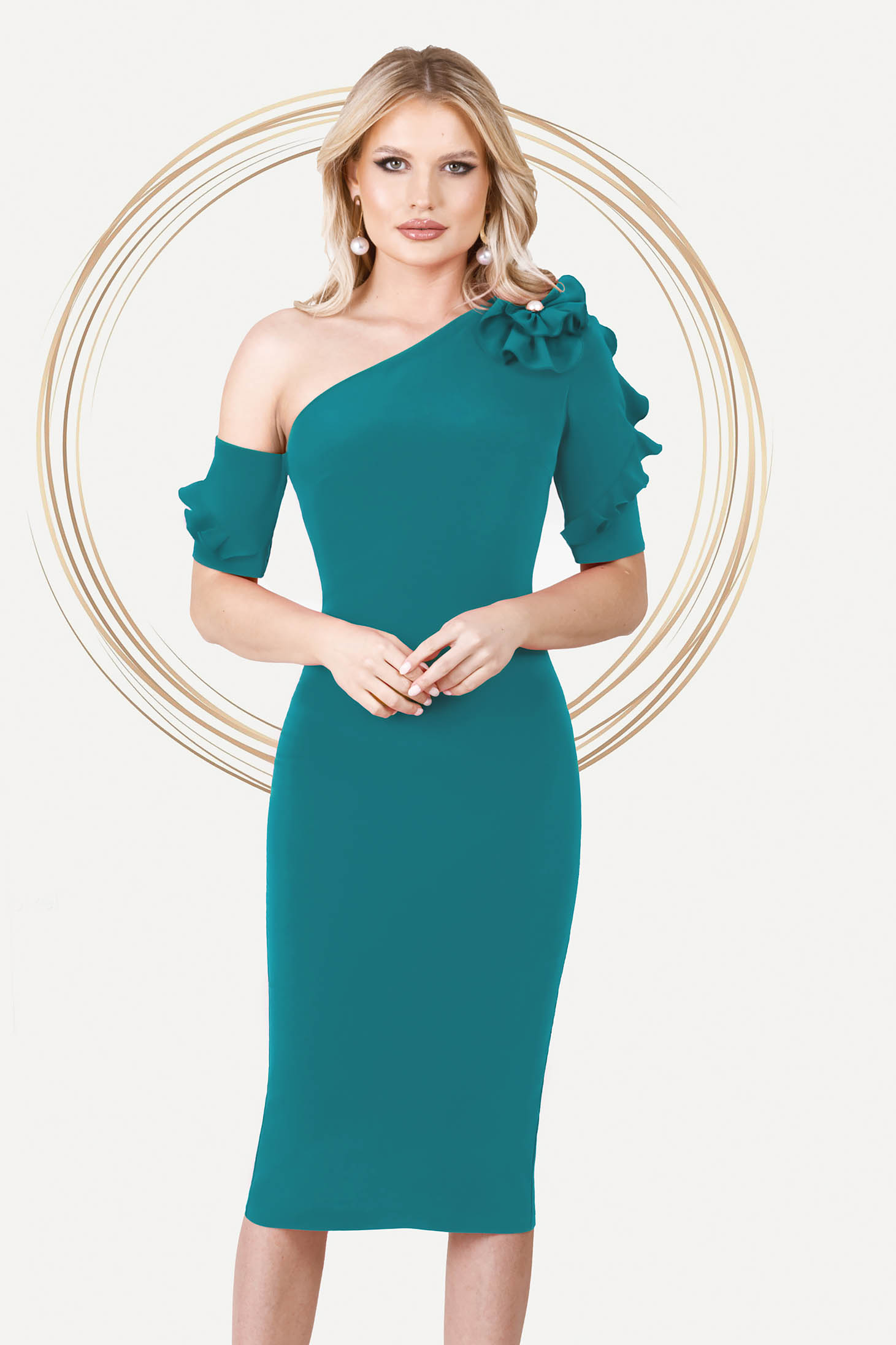 Turquoise dress occasional midi pencil one shoulder with ruffled sleeves