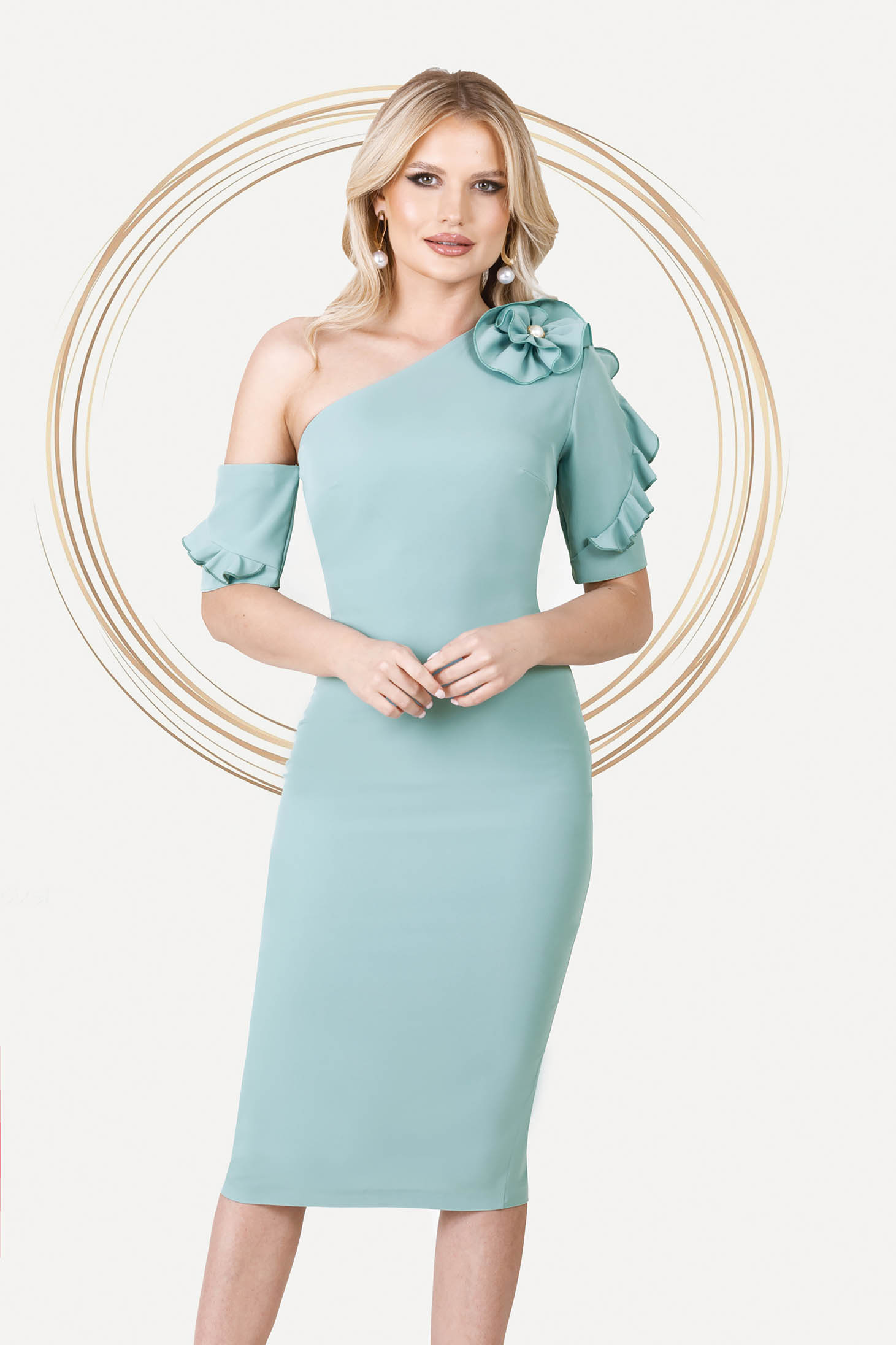 Mint dress occasional midi pencil one shoulder with ruffled sleeves