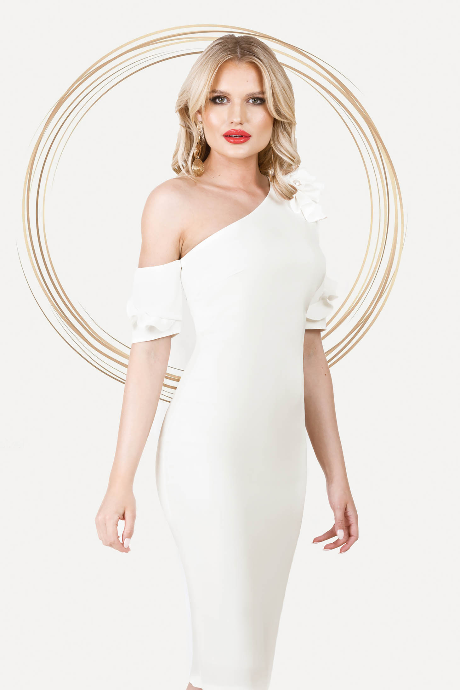 Ivory dress occasional midi pencil one shoulder with ruffled sleeves