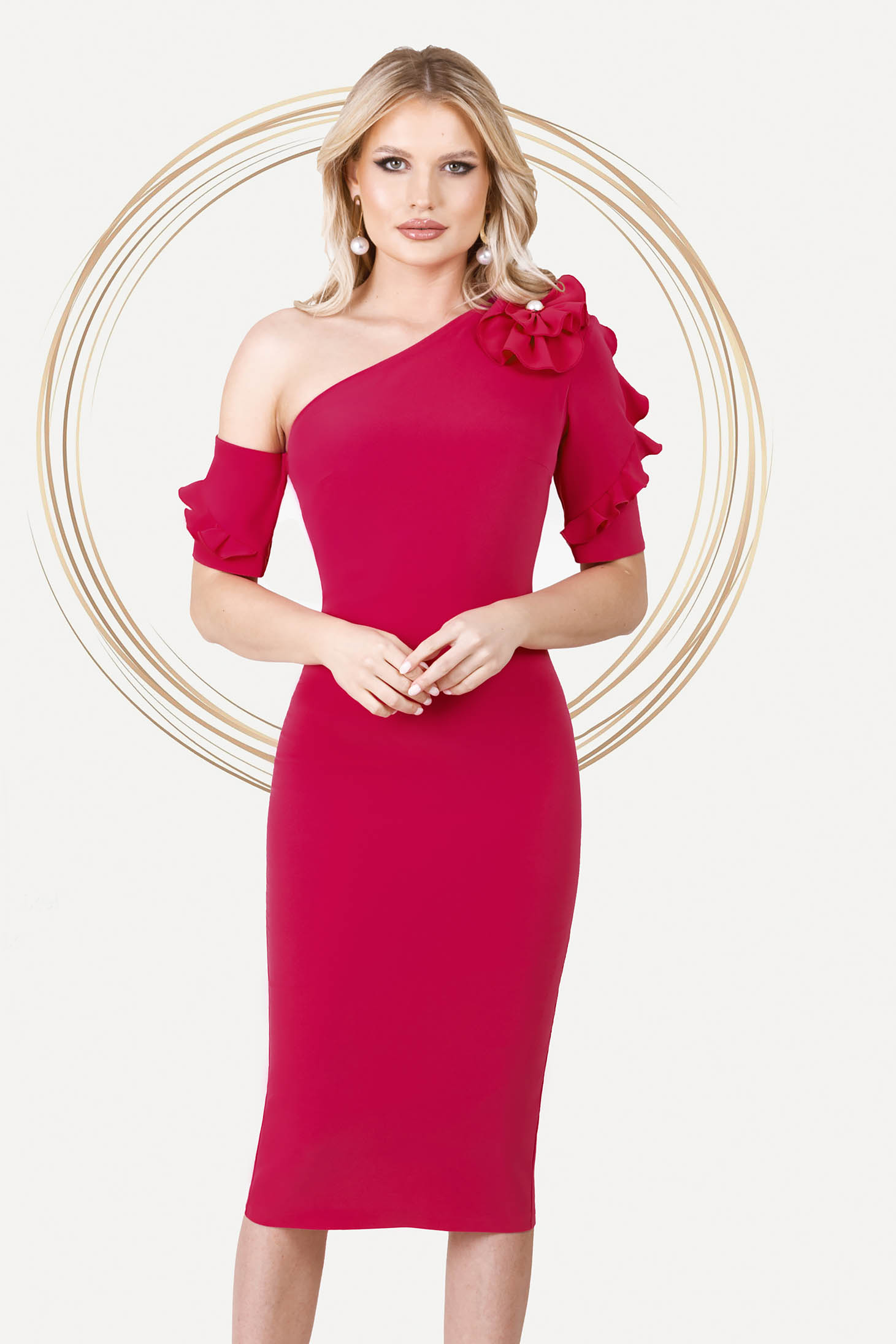 Fuchsia dress occasional midi pencil one shoulder with ruffled sleeves