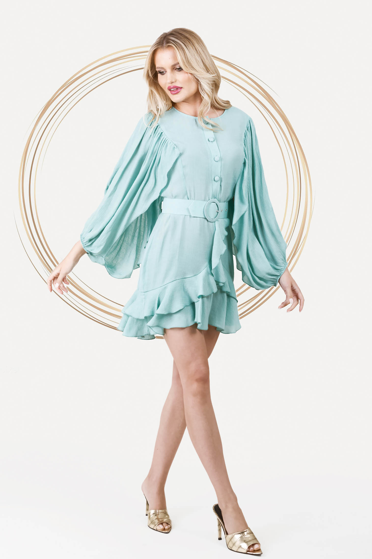Mint dress elegant short cut cloche with elastic waist airy fabric with puffed sleeves