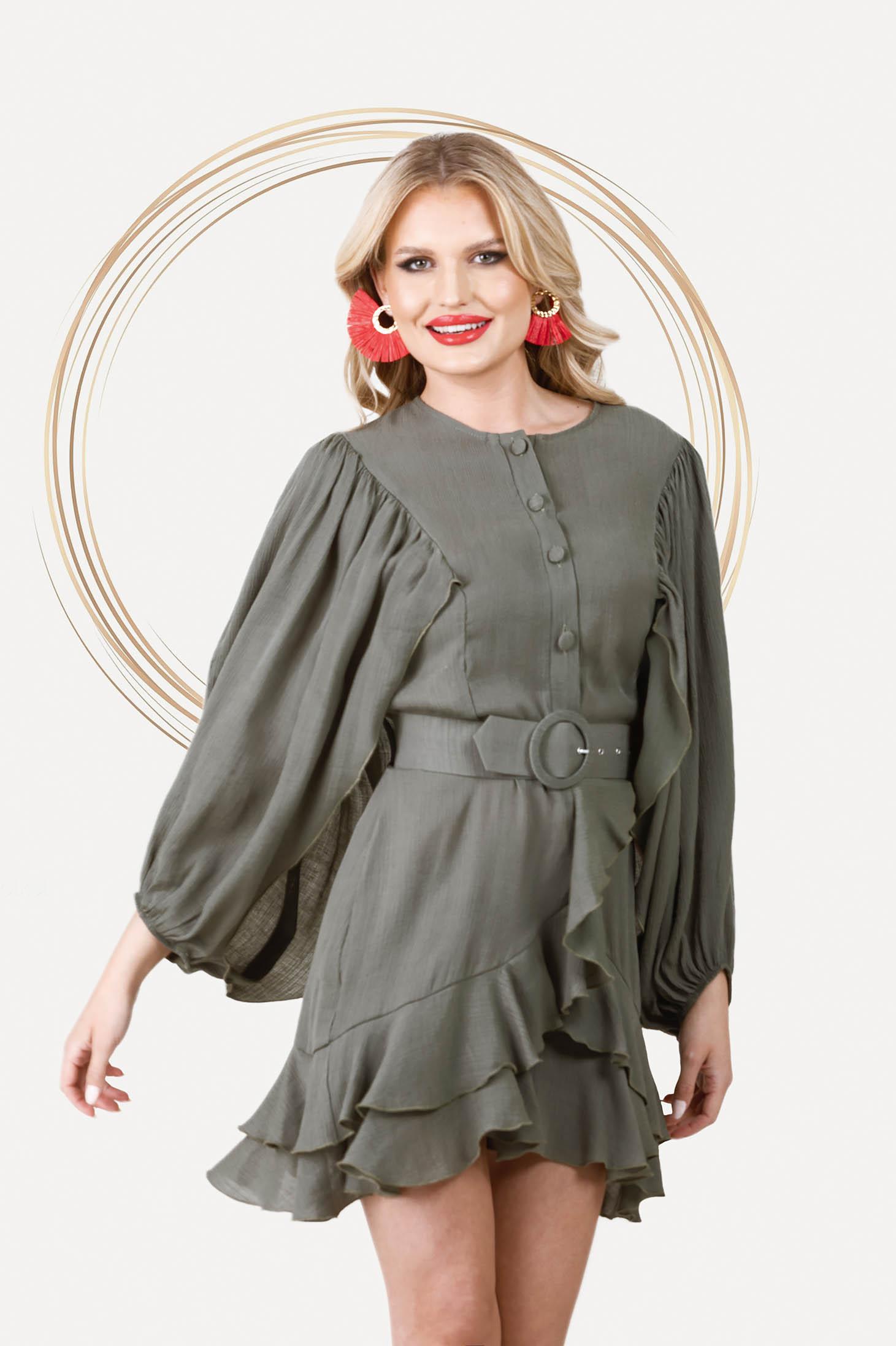 Khaki zöld bő ujjú elegáns rövid ruha harang alakú gumirozott derékrésszel vékony anyagból