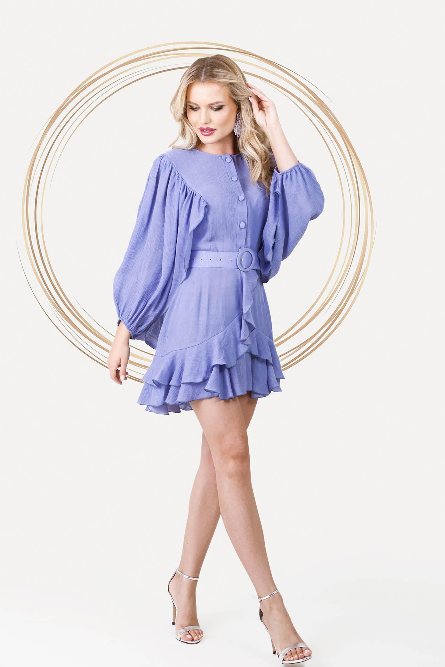Világos lila bő ujjú elegáns rövid ruha harang alakú gumirozott derékrésszel vékony anyagból
