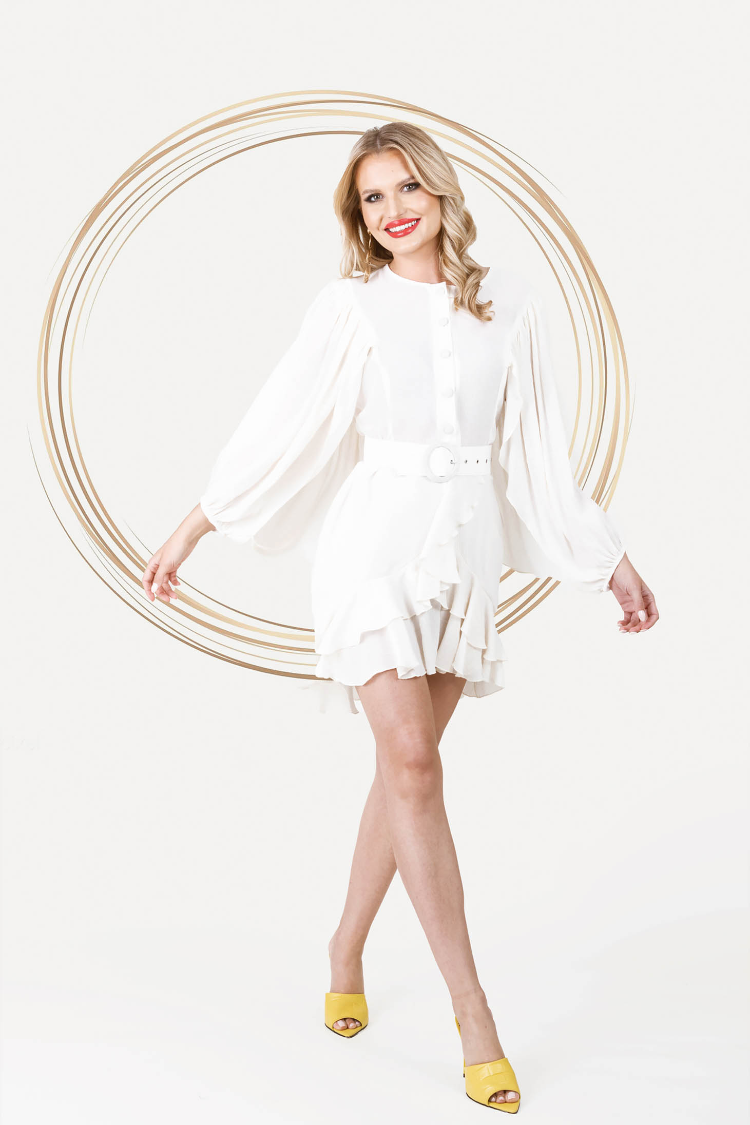 Ivory dress elegant short cut cloche with elastic waist airy fabric with puffed sleeves