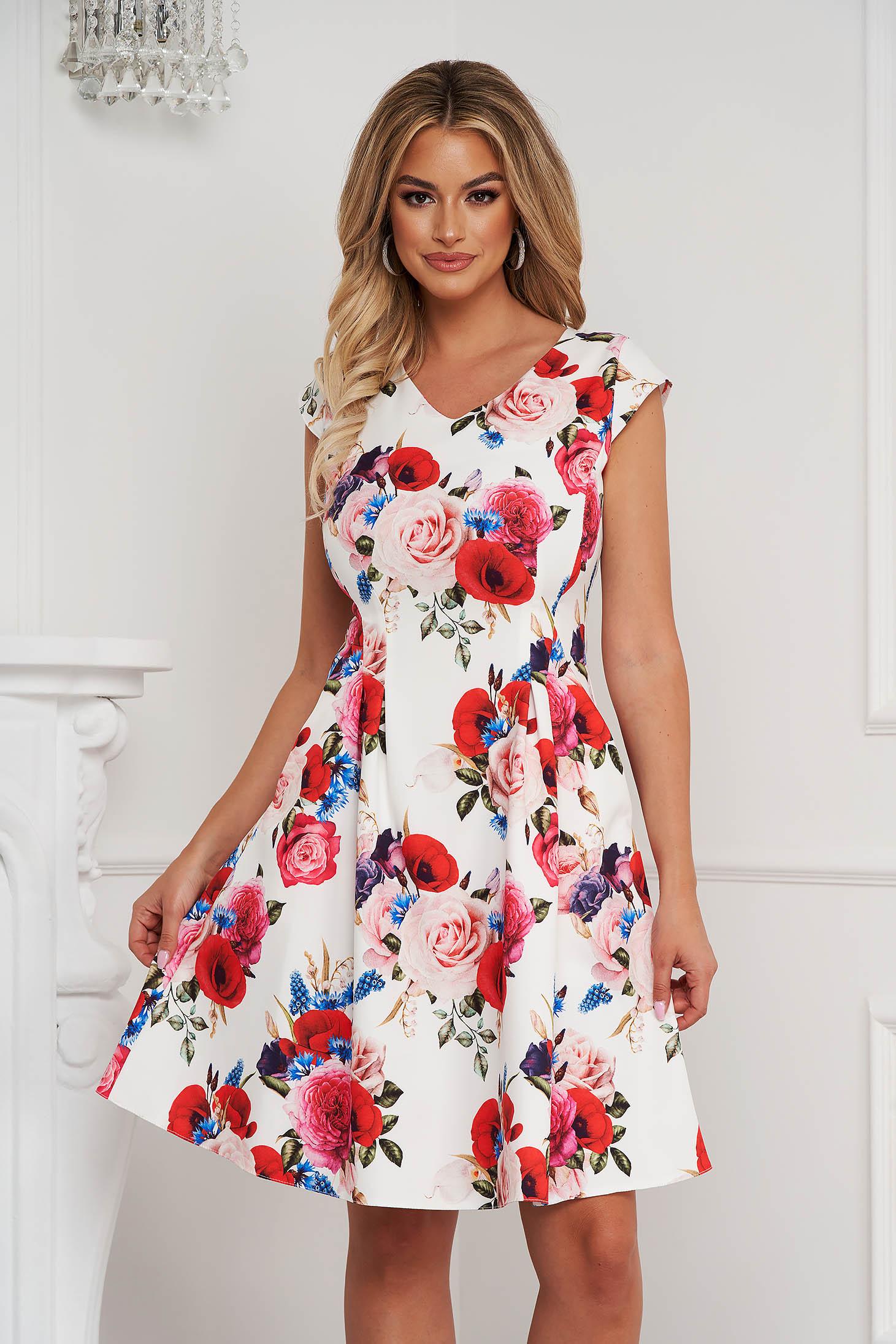Rochie eleganta midi in clos din material usor elastic cu buzunare