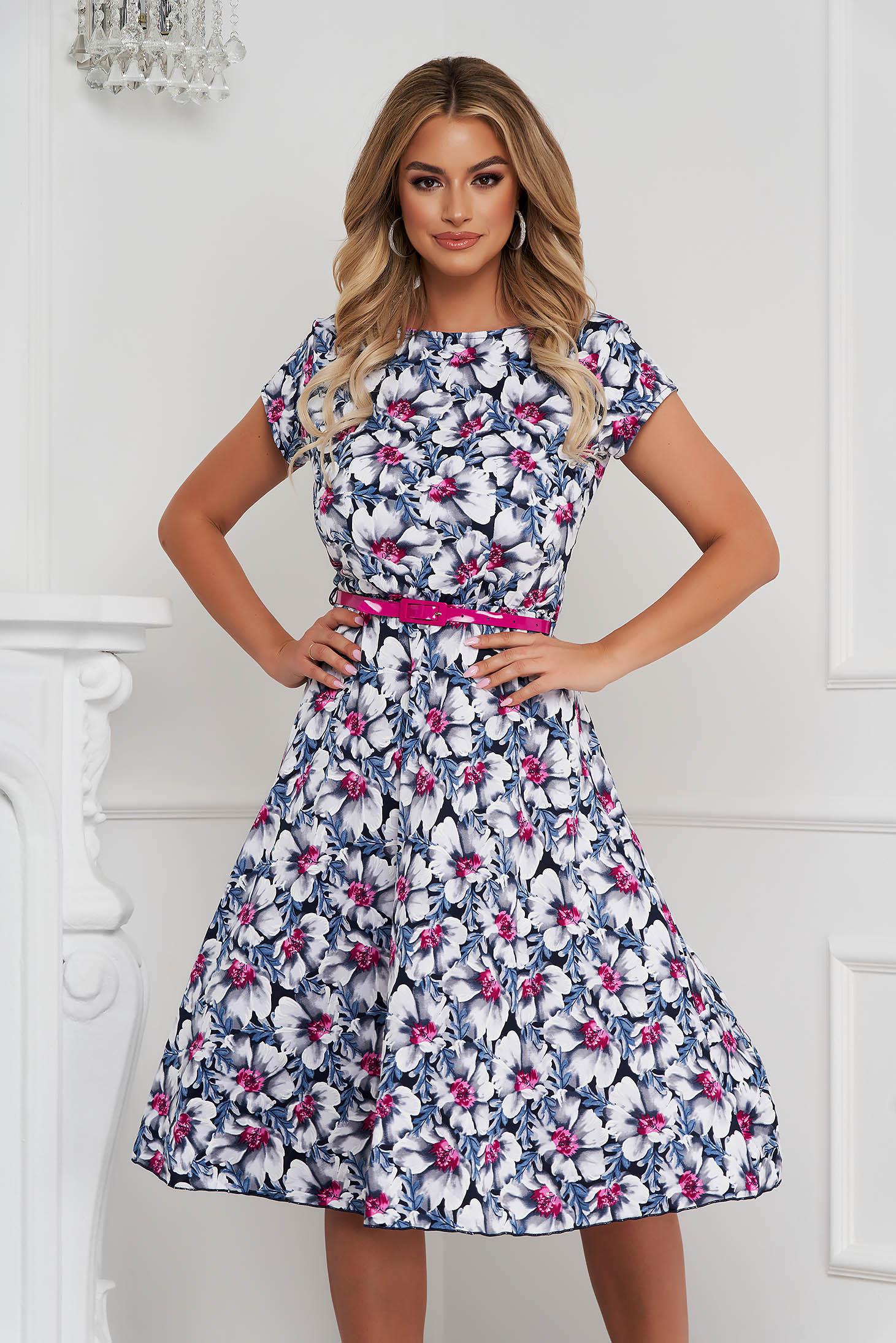 Dress elegant midi cloche with elastic waist from elastic fabric short sleeves
