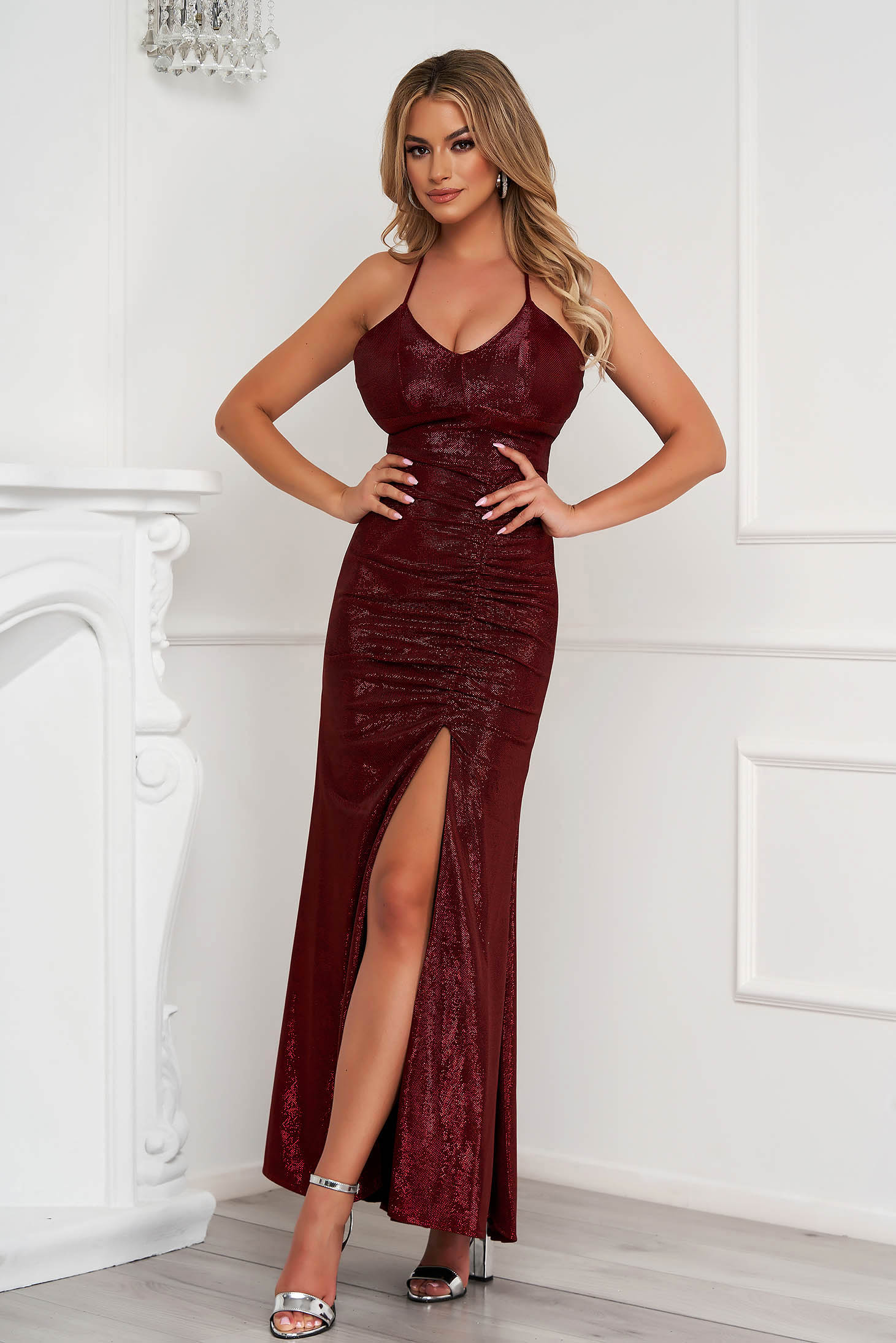 Burgundy dress occasional long pencil with push-up cups with straps