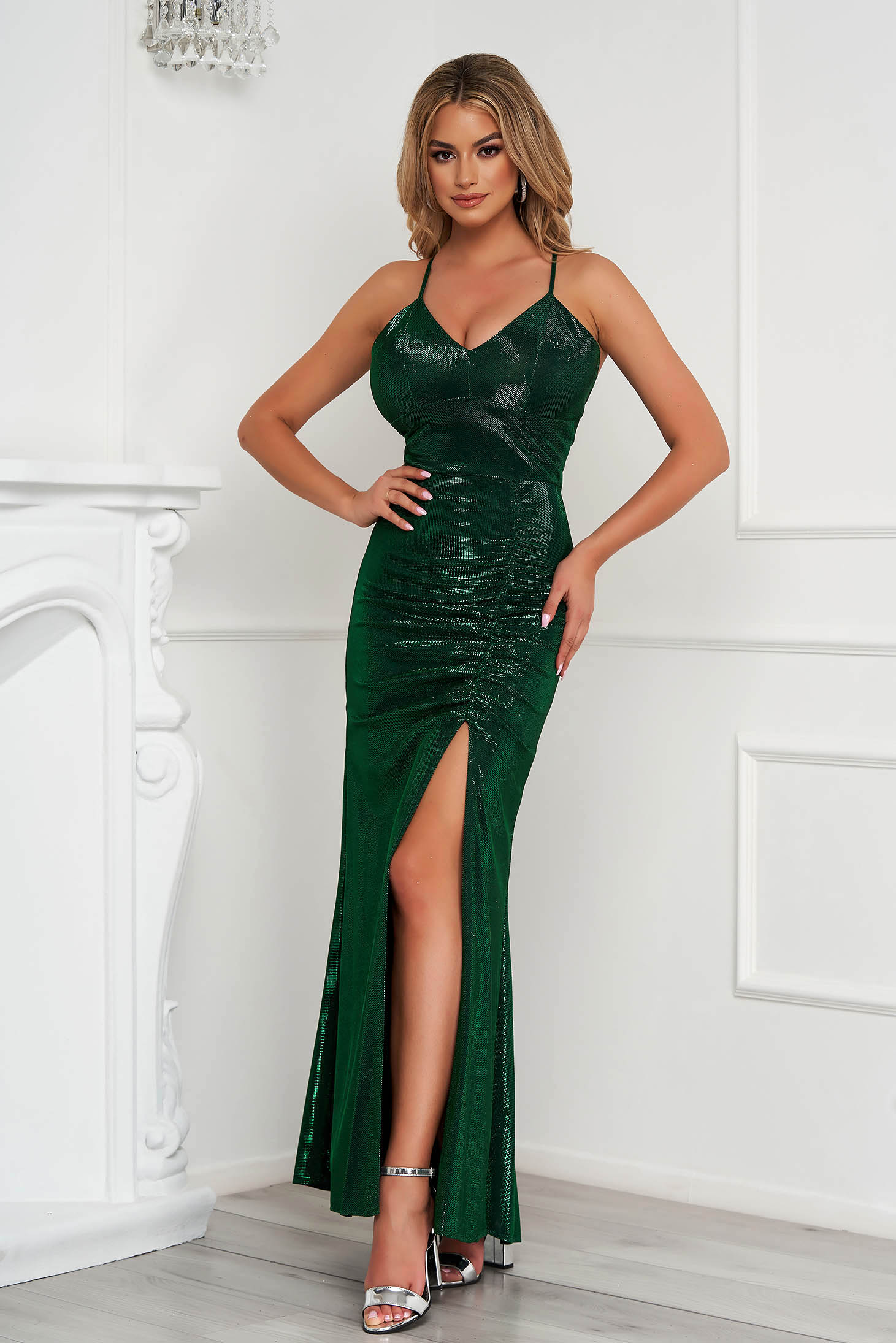Green dress occasional long pencil with push-up cups with straps