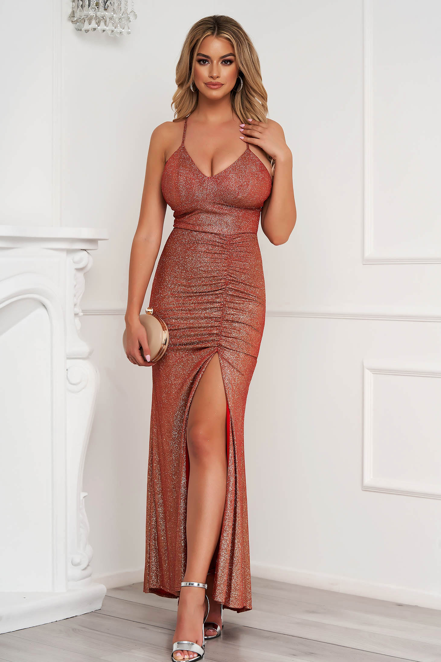 Coral dress occasional long pencil with push-up cups with straps