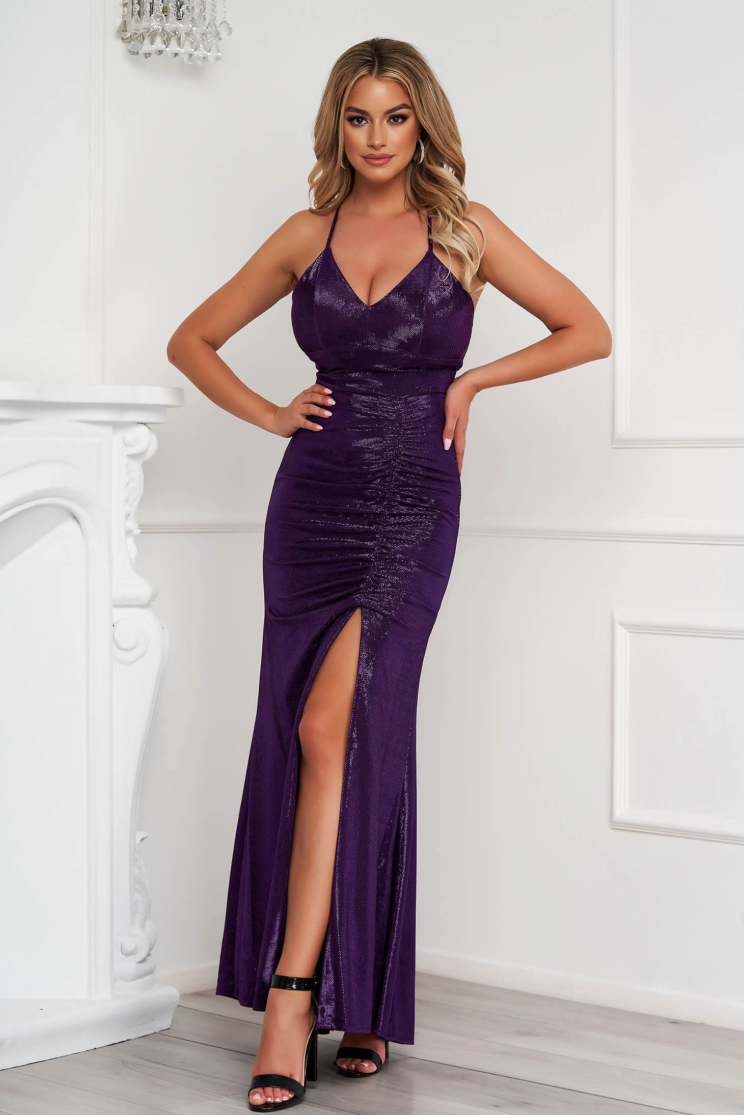Purple dress occasional long pencil with push-up cups with straps