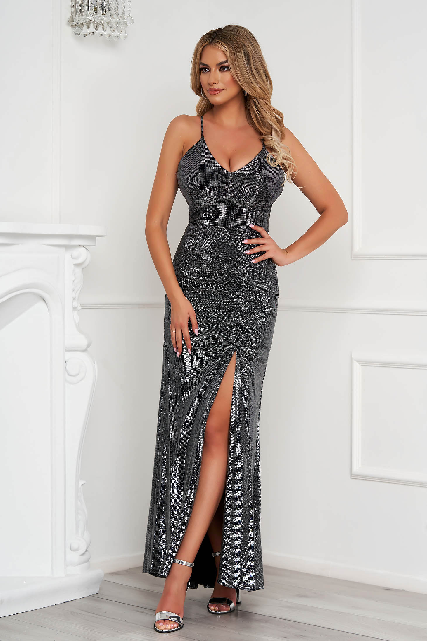 Silver dress occasional long pencil with push-up cups with straps