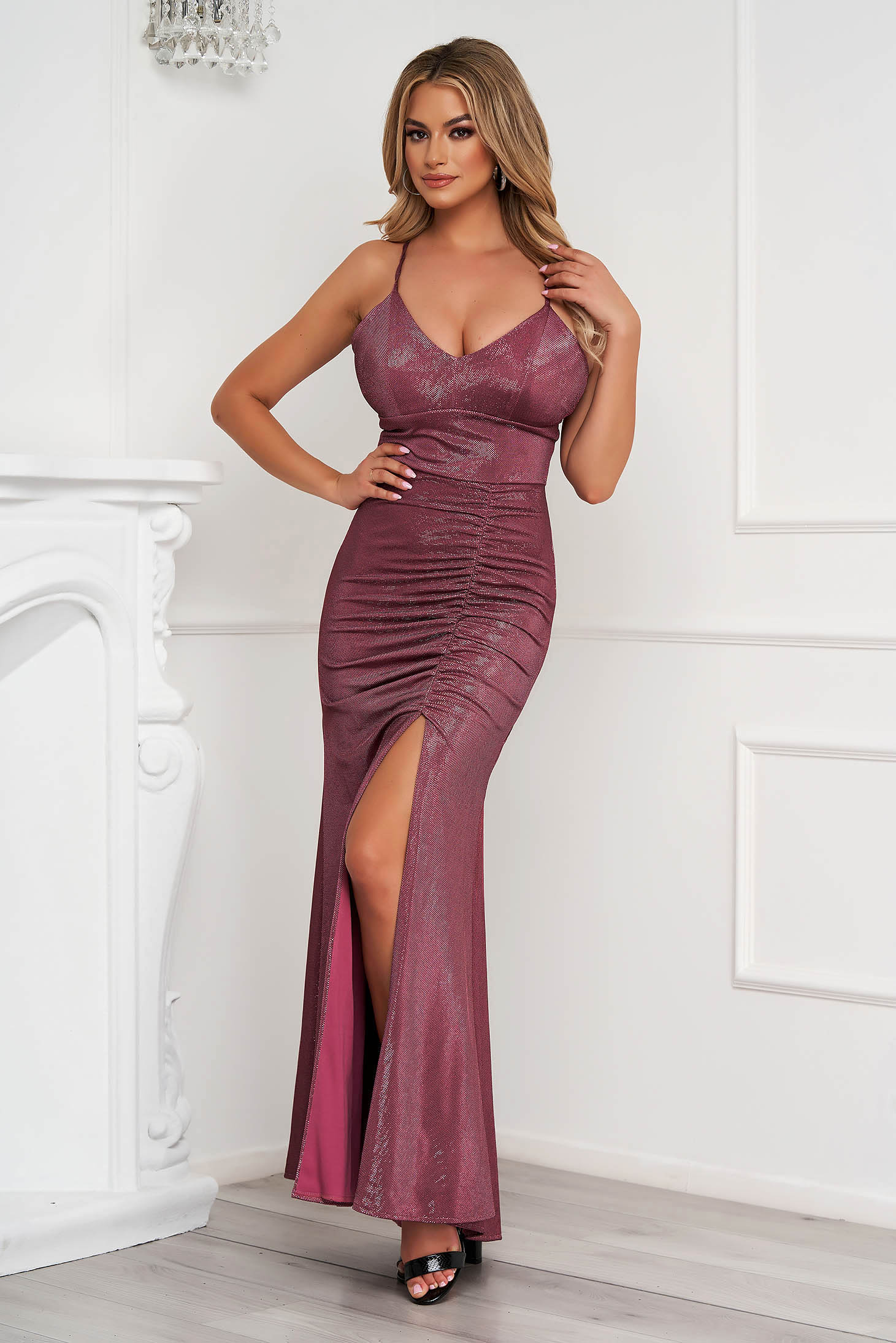 Pink dress occasional long pencil with push-up cups with straps
