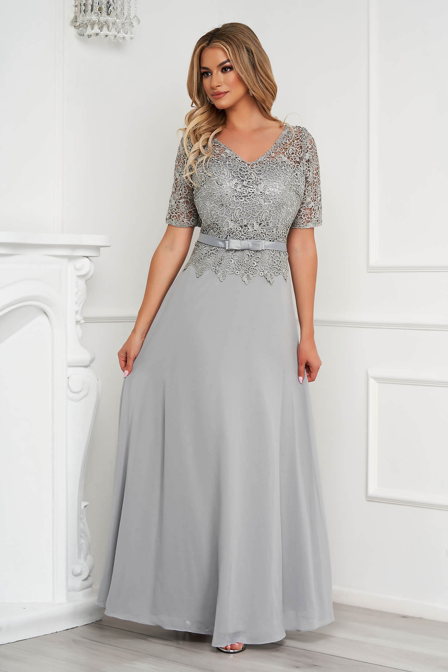 Grey dress occasional long cloche from veil fabric laced
