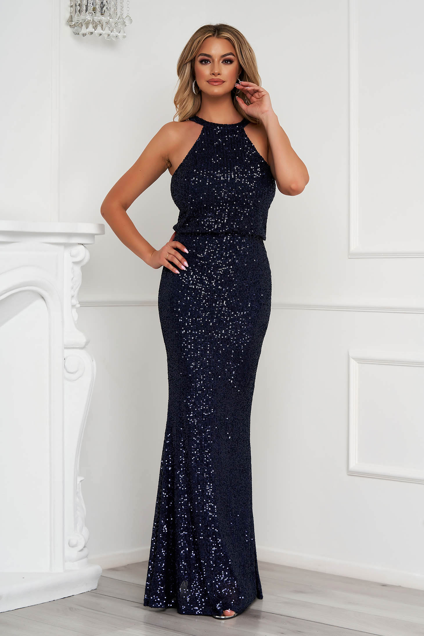 Darkblue dress long occasional pencil with sequins halter neck