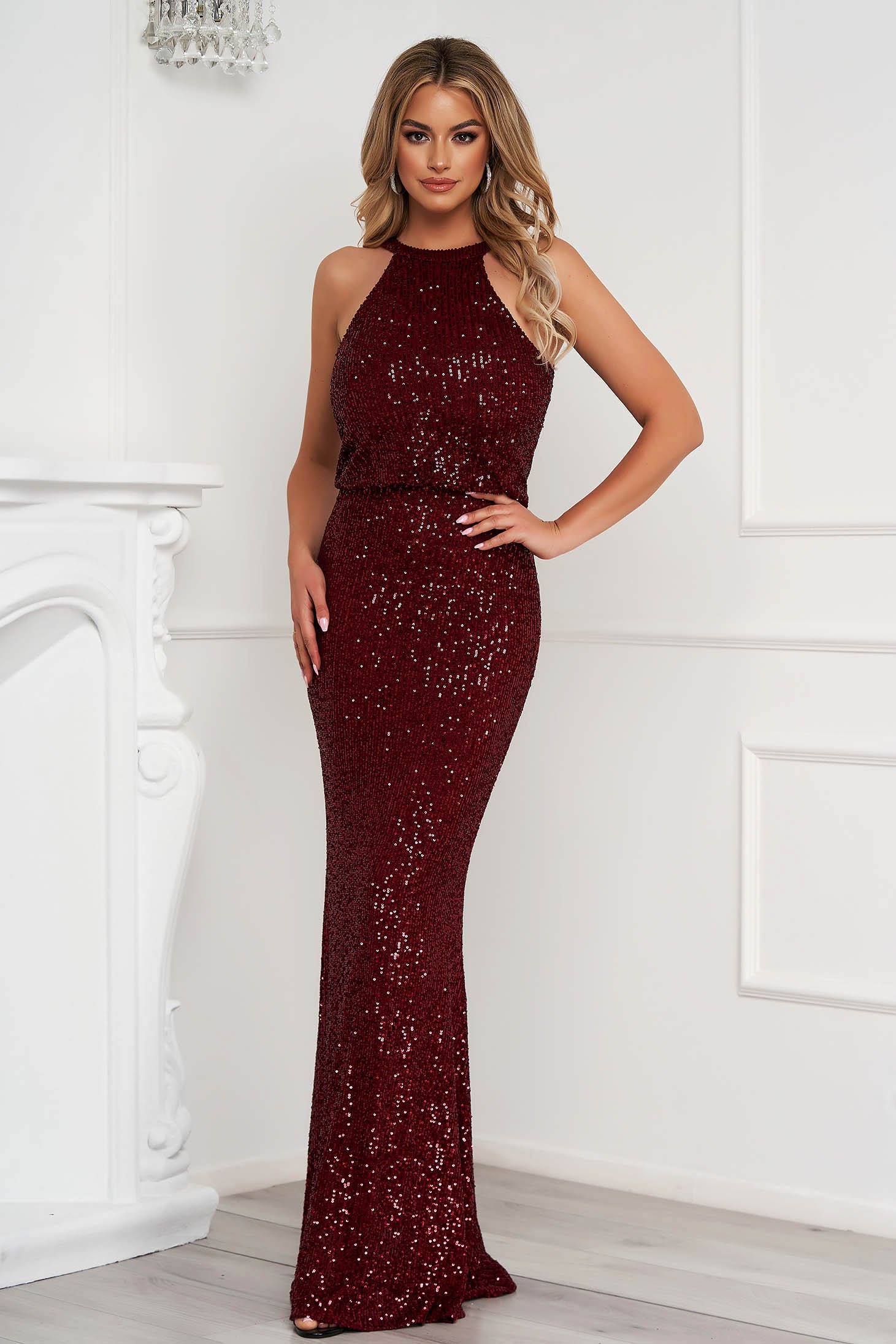 Burgundy dress long occasional pencil with sequins halter neck