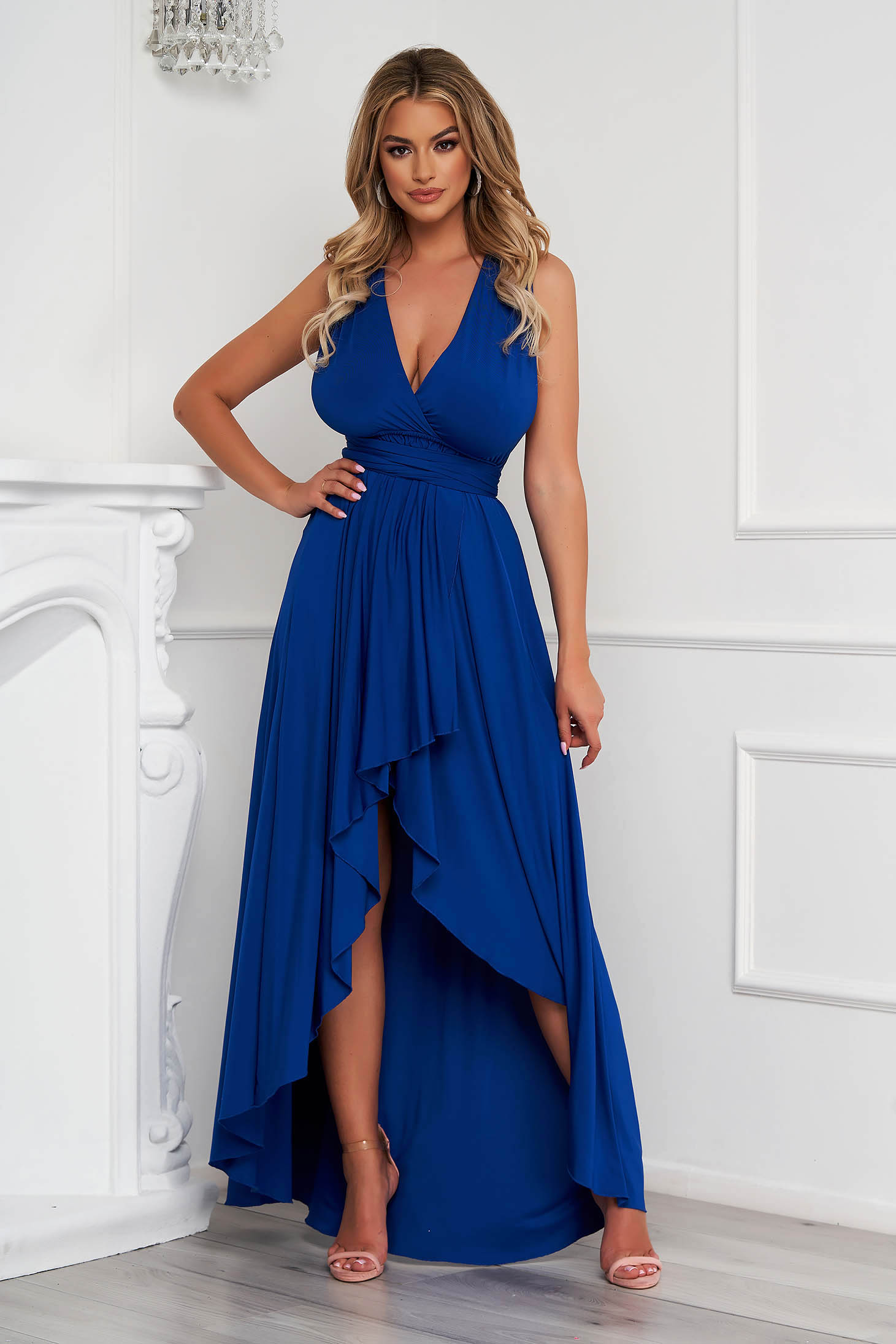 Blue dress asymmetrical occasional cloche from elastic fabric bare back