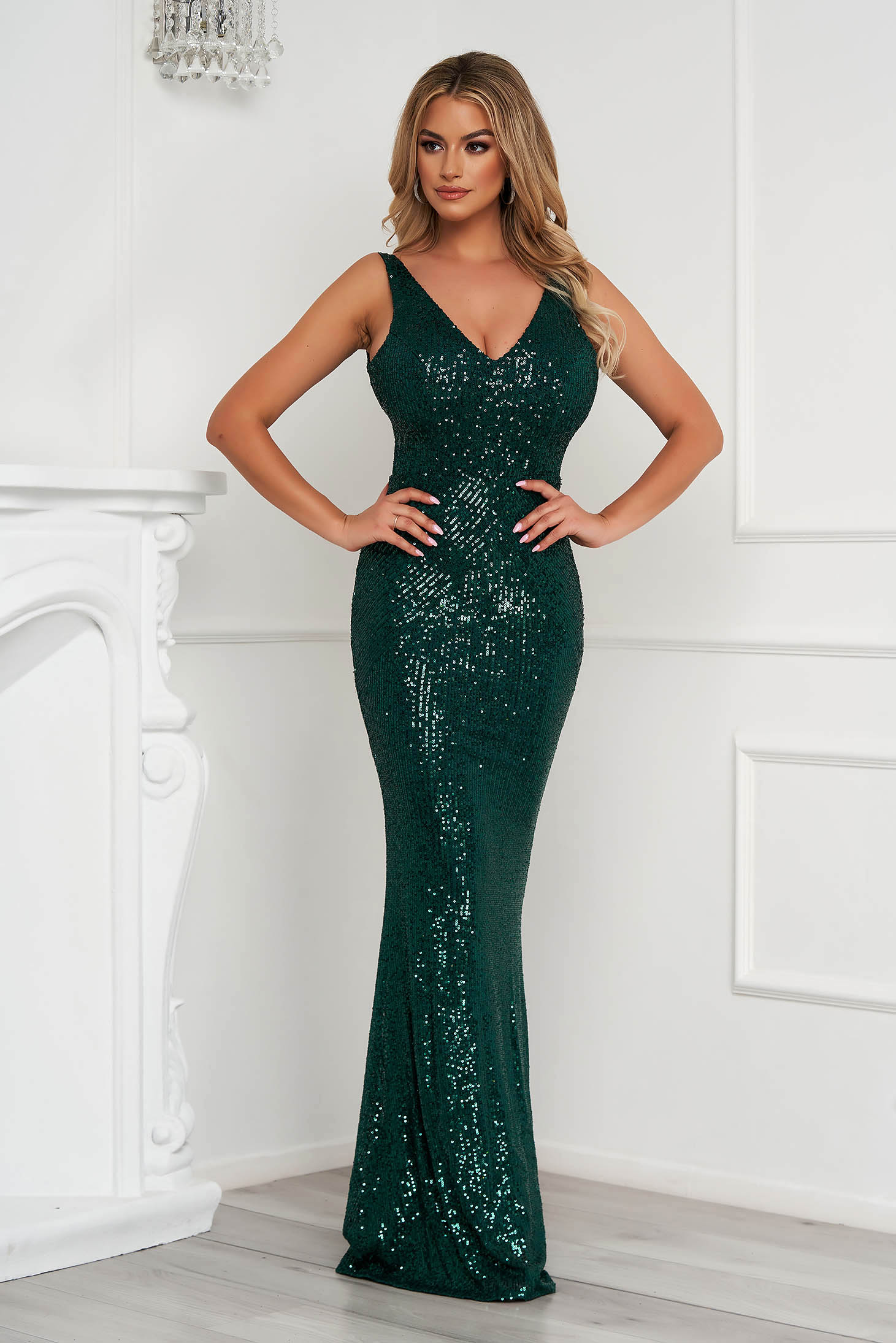 Green dress long pencil occasional with sequins sleeveless