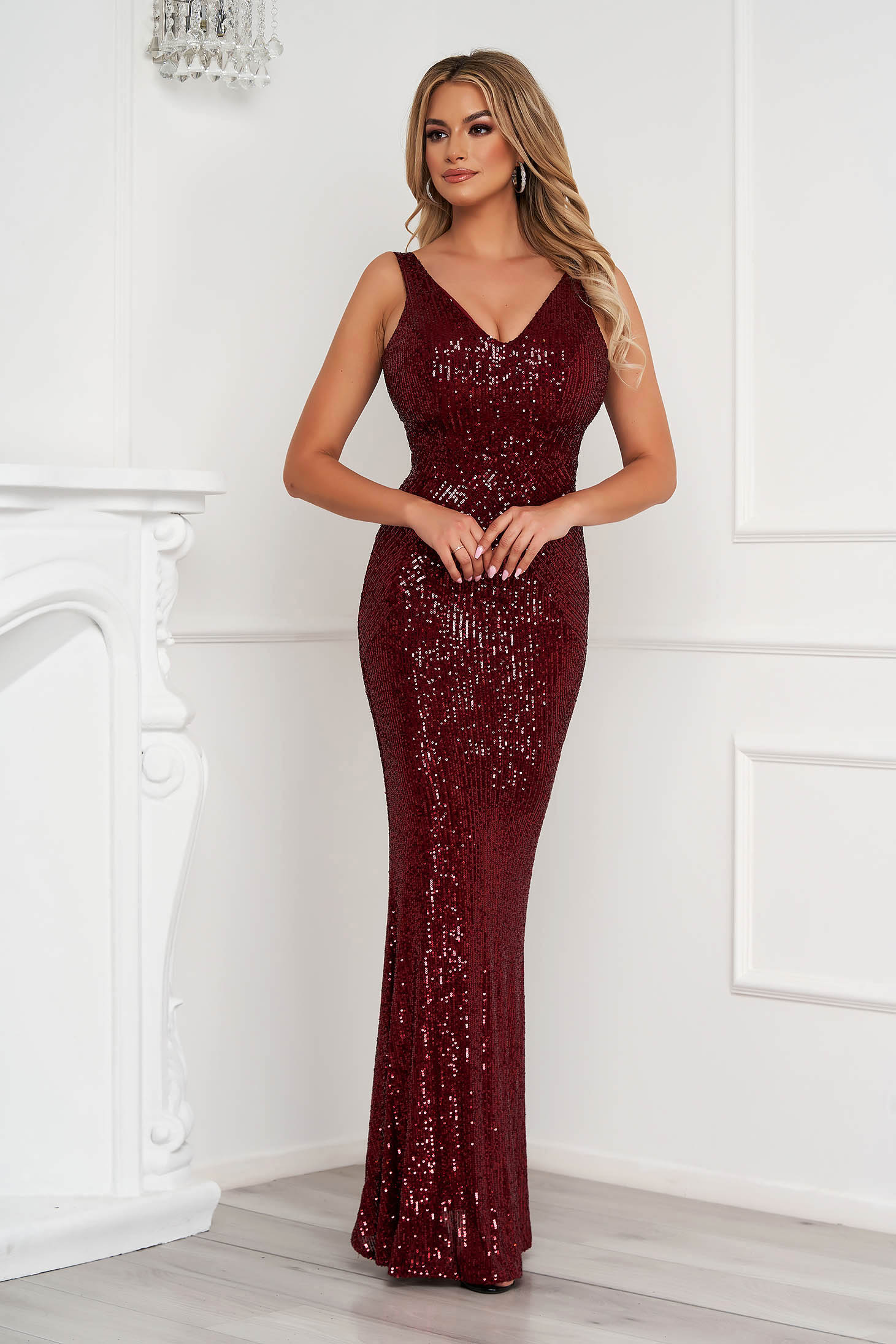 Burgundy dress long pencil occasional with sequins sleeveless