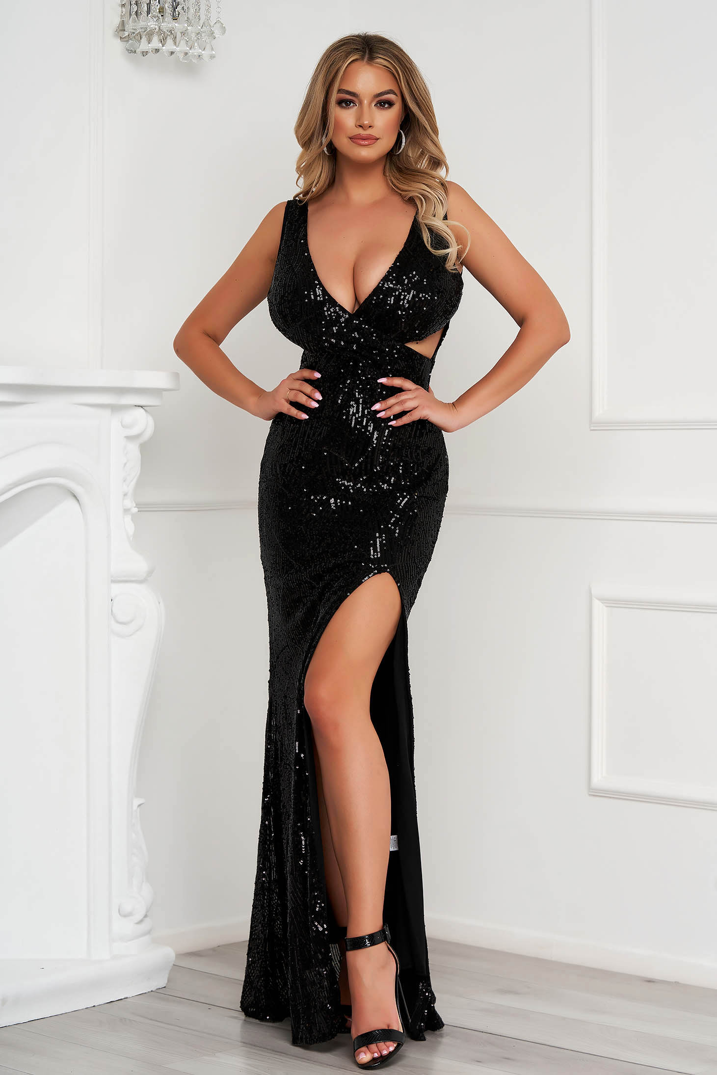 Black dress long occasional pencil with sequins with cut out material