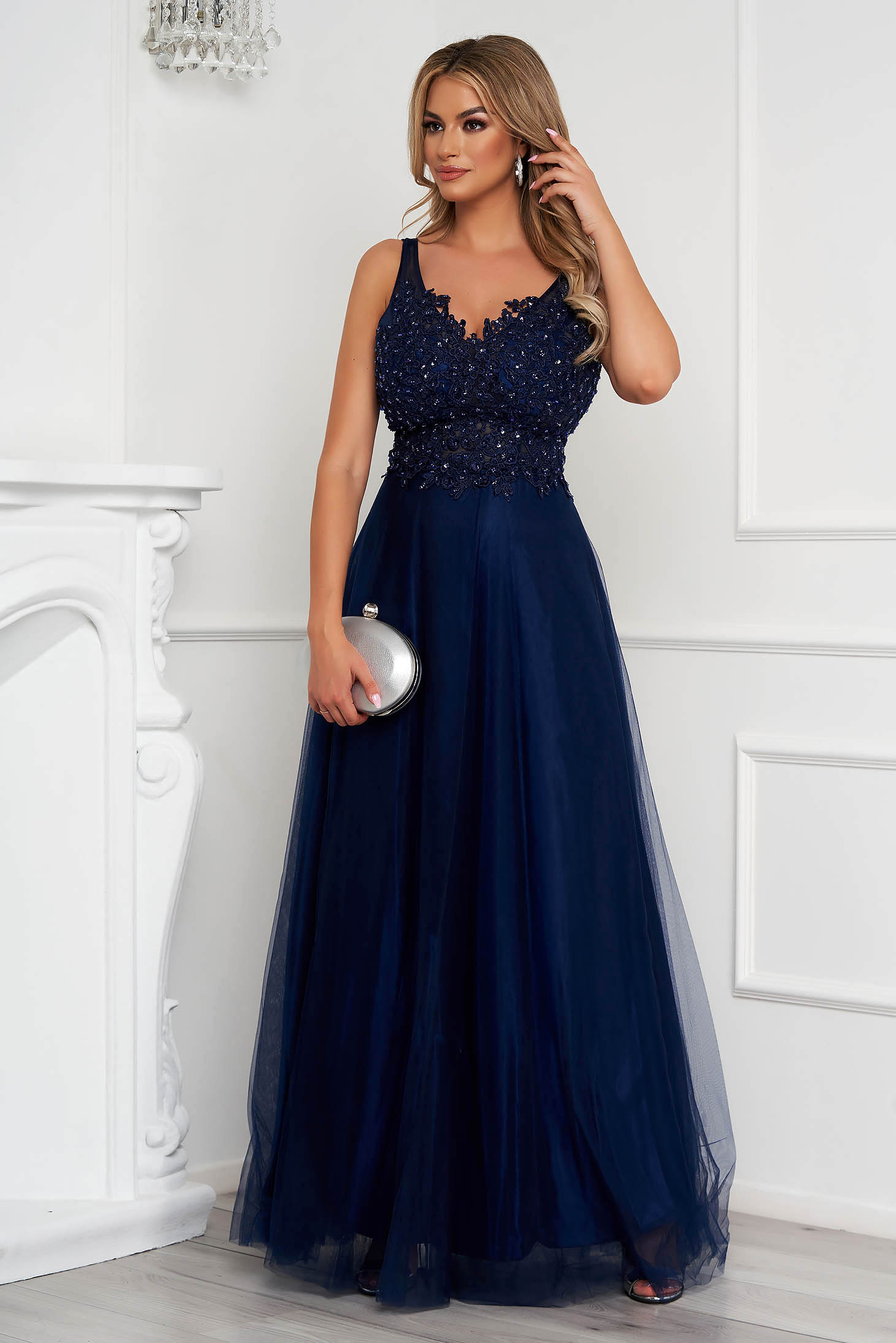 Darkblue dress long occasional cloche from tulle with embroidery details pearls with sequin embellished details
