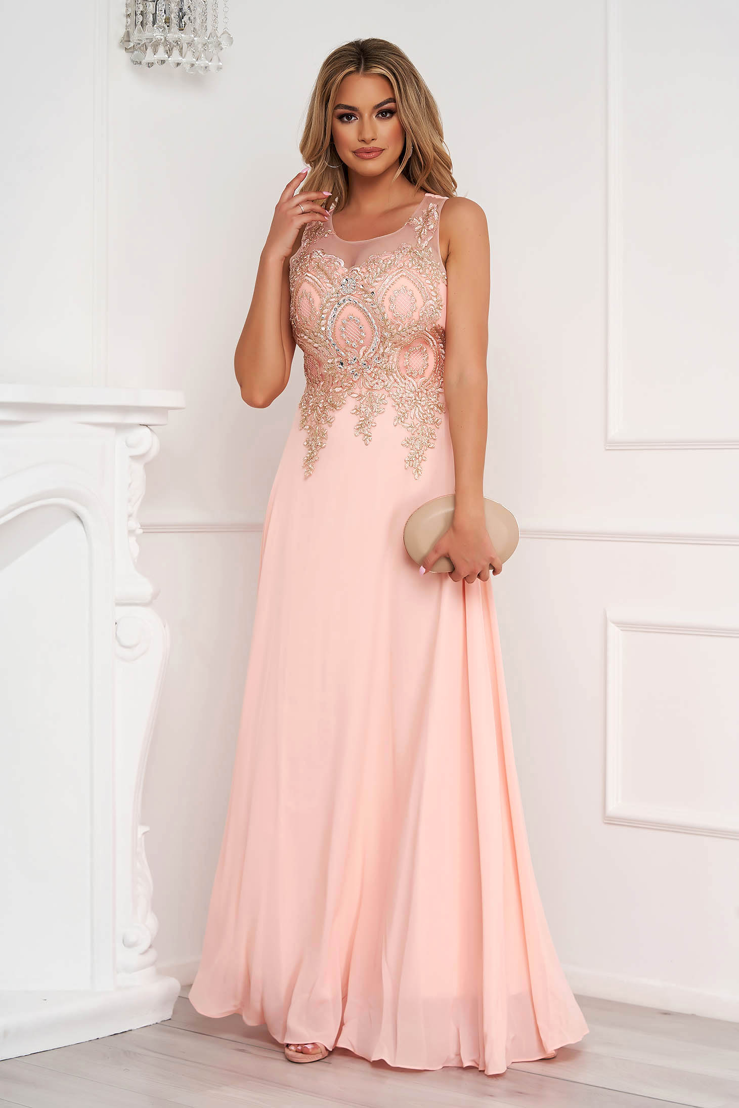 Peach dress long occasional cloche from tulle front embroidery with crystal embellished details