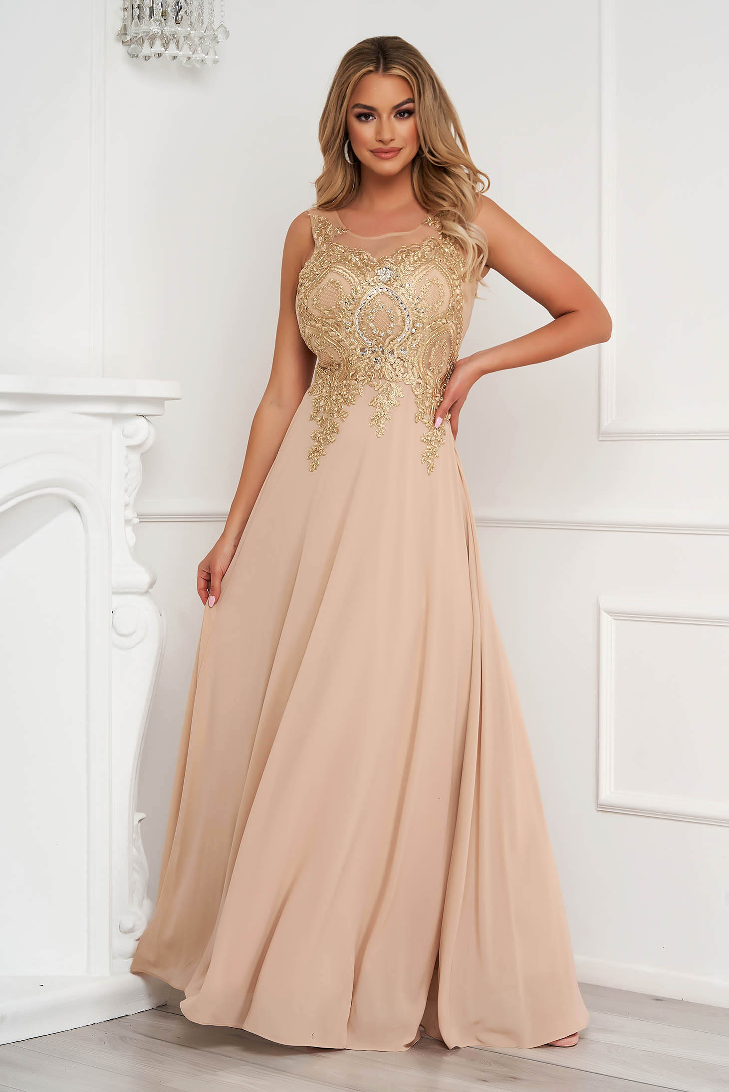 Cappuccino dress long occasional cloche from tulle front embroidery with crystal embellished details