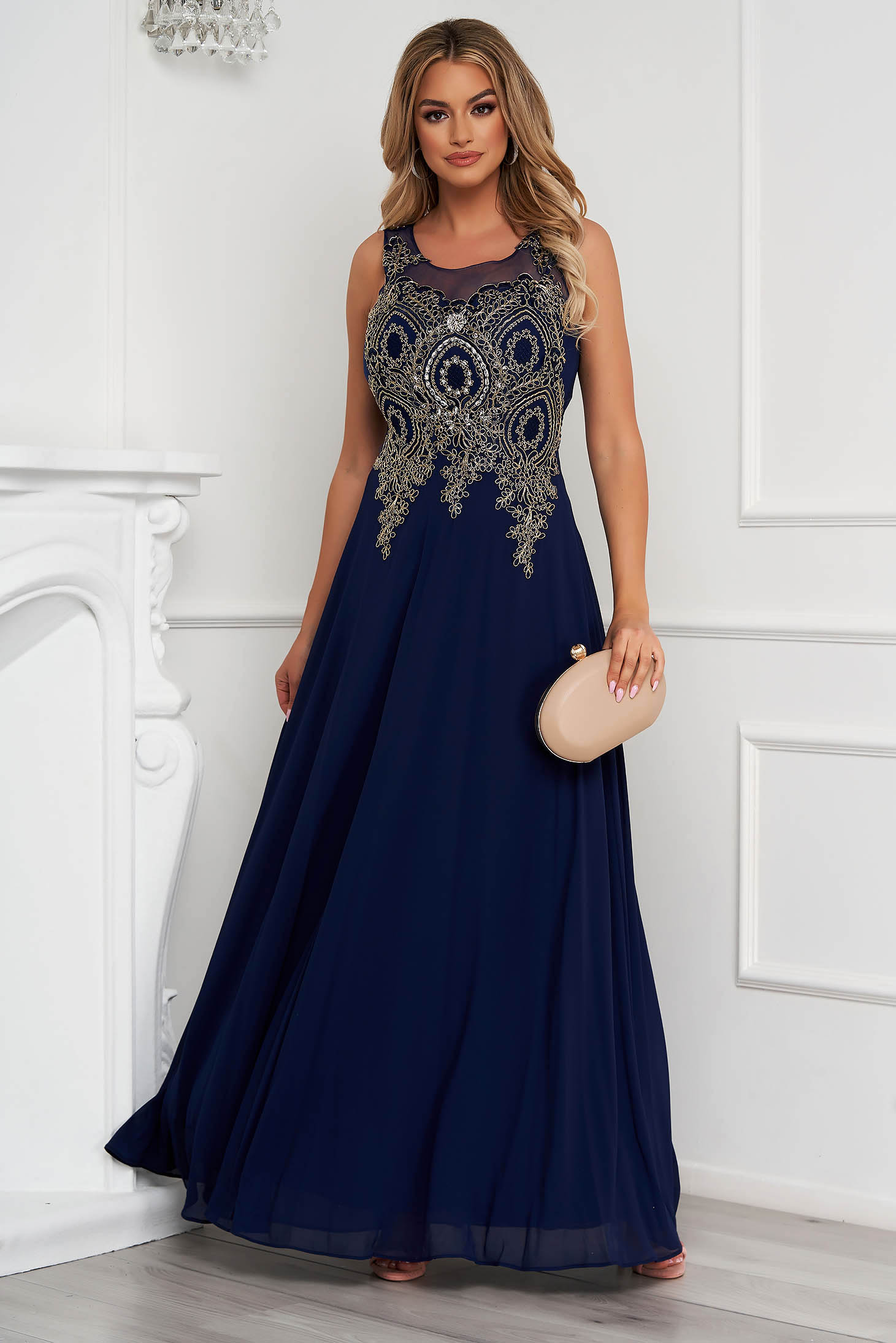 Darkblue dress long occasional cloche from tulle front embroidery with crystal embellished details