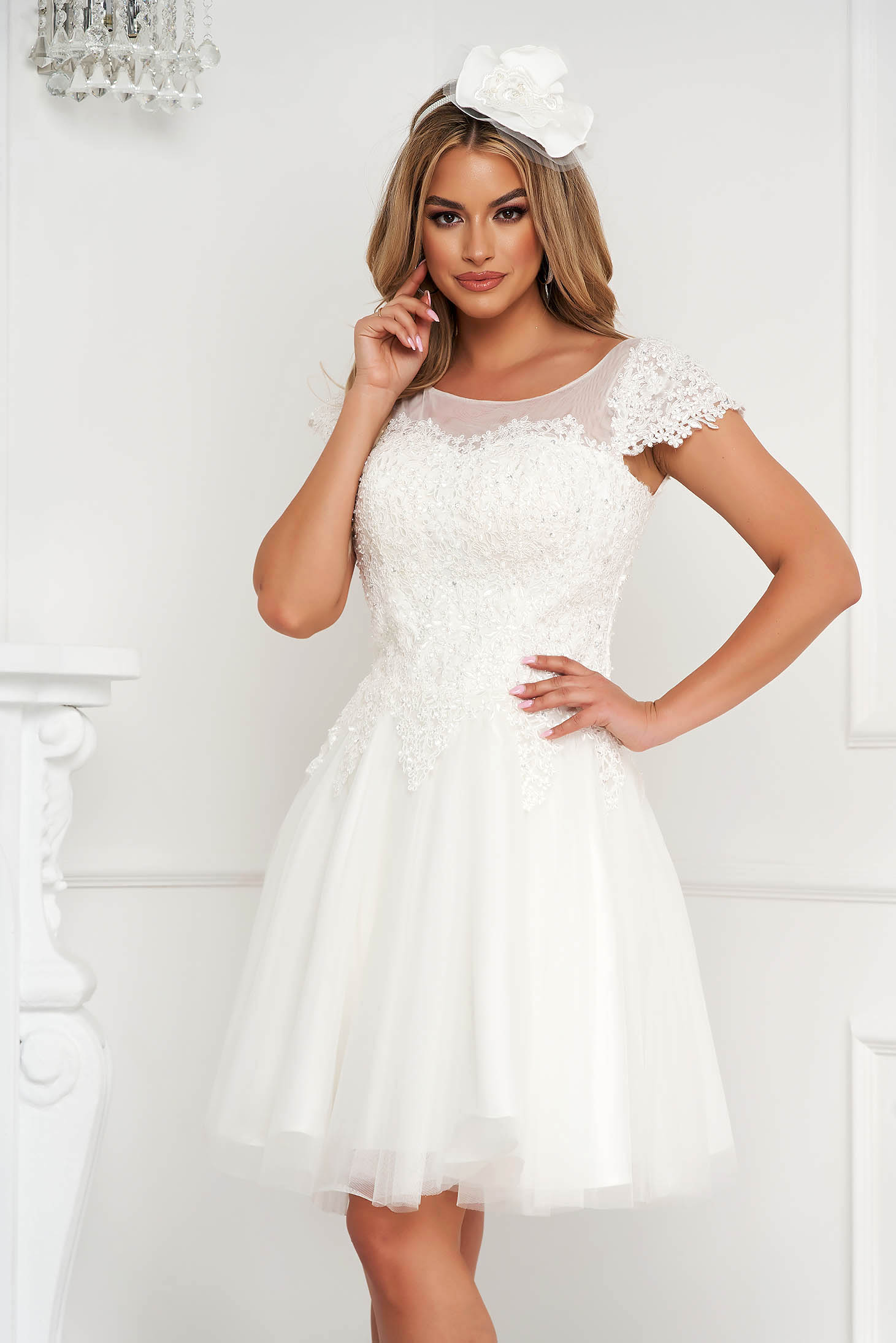 White dress short cut occasional cloche from tulle with embroidery details with pearls