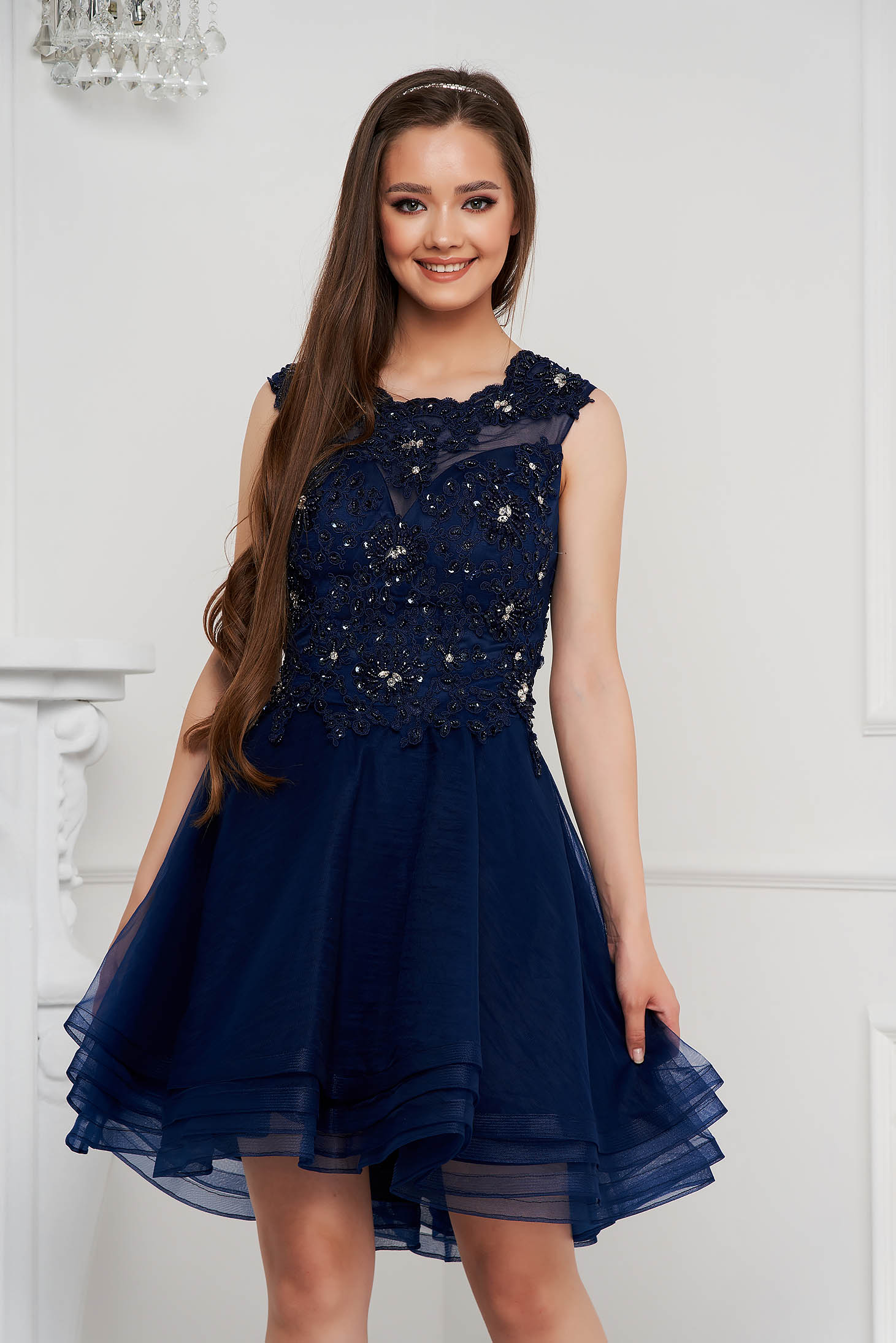 Darkblue dress short cut cloche from tulle with sequin embellished details
