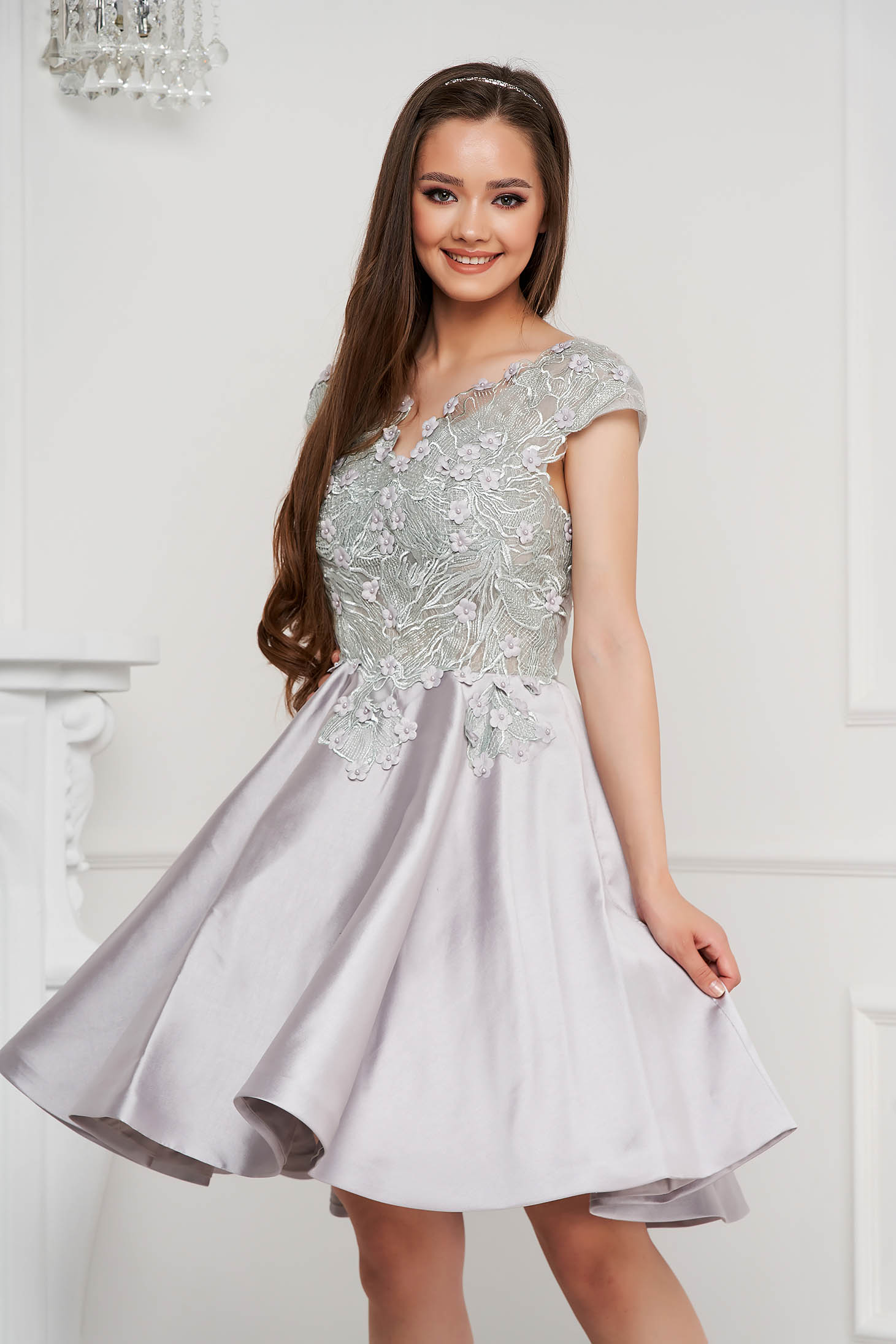 Grey dress short cut occasional laced from satin fabric texture cloche