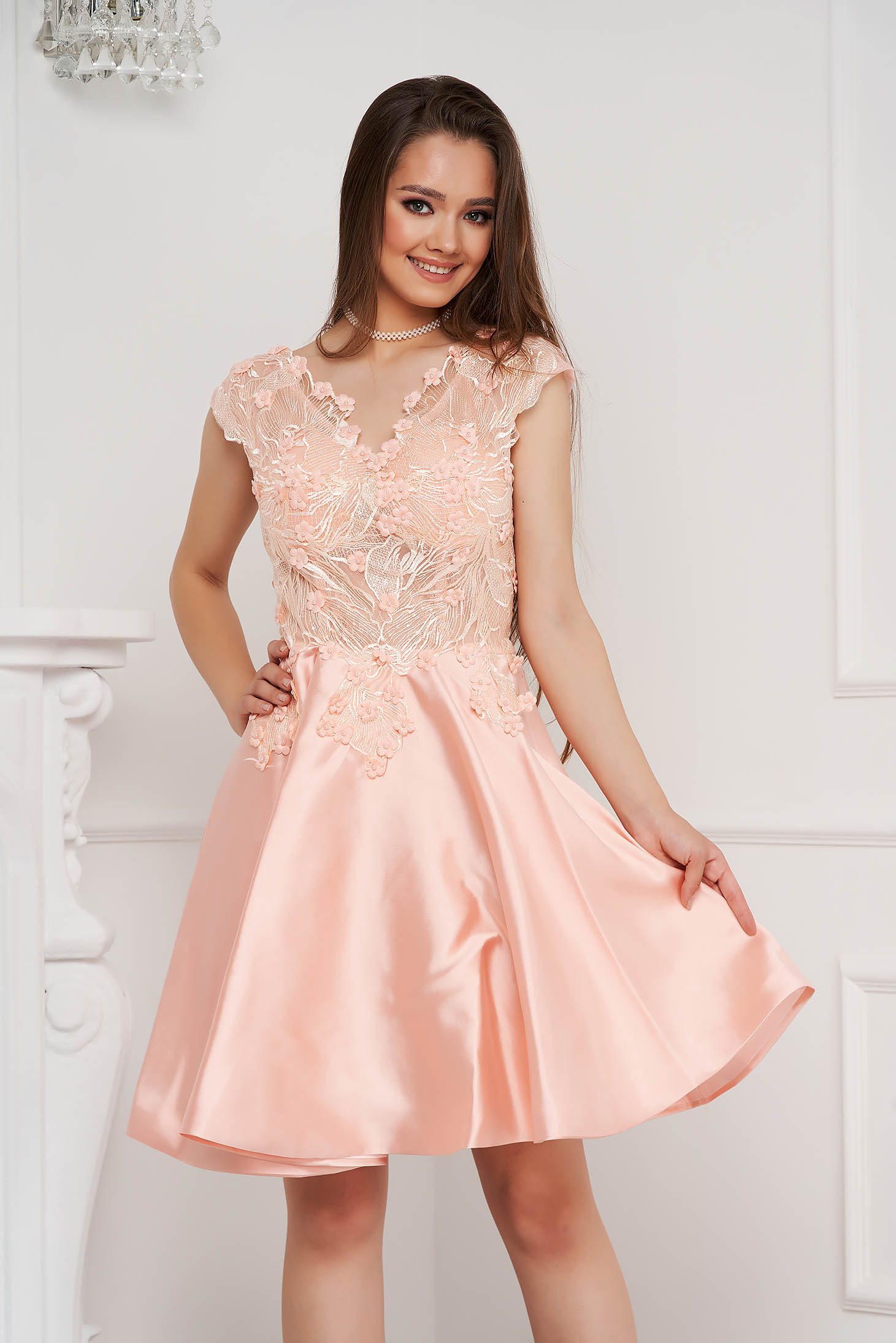 Lightpink dress short cut occasional laced from satin fabric texture cloche