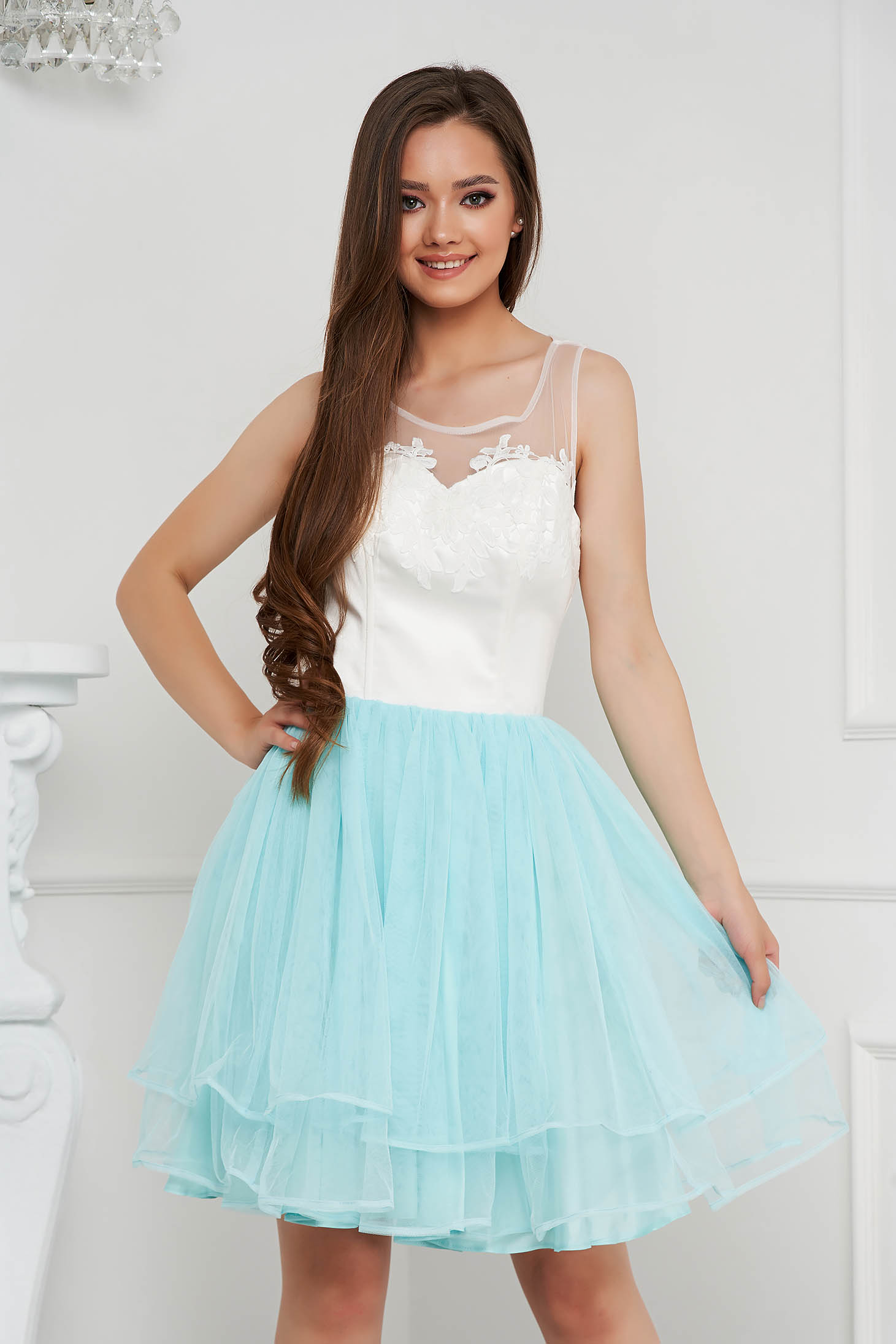 Aqua dress short cut occasional from tulle with embroidery details