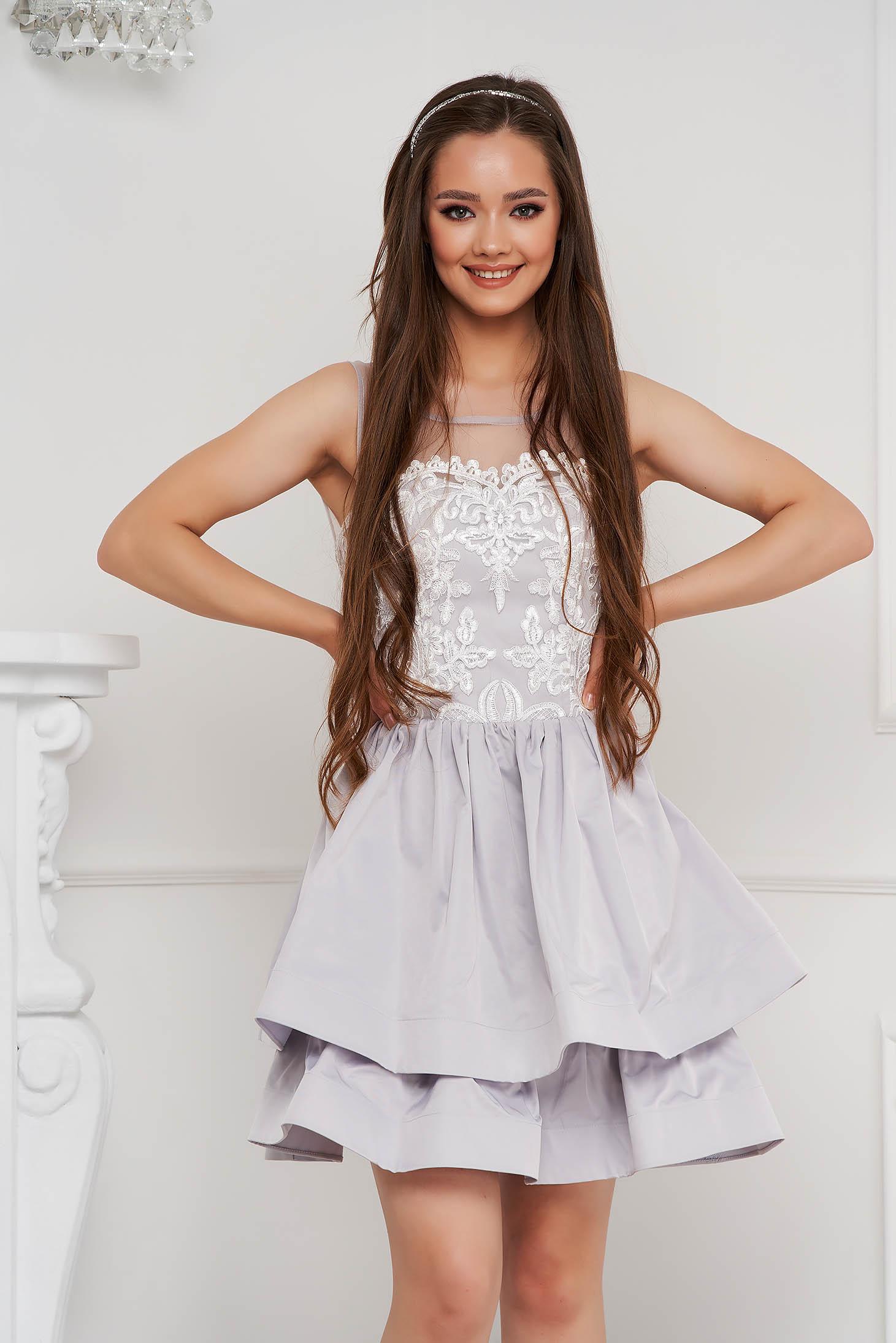 Grey dress short cut cloche from satin fabric texture sleeveless