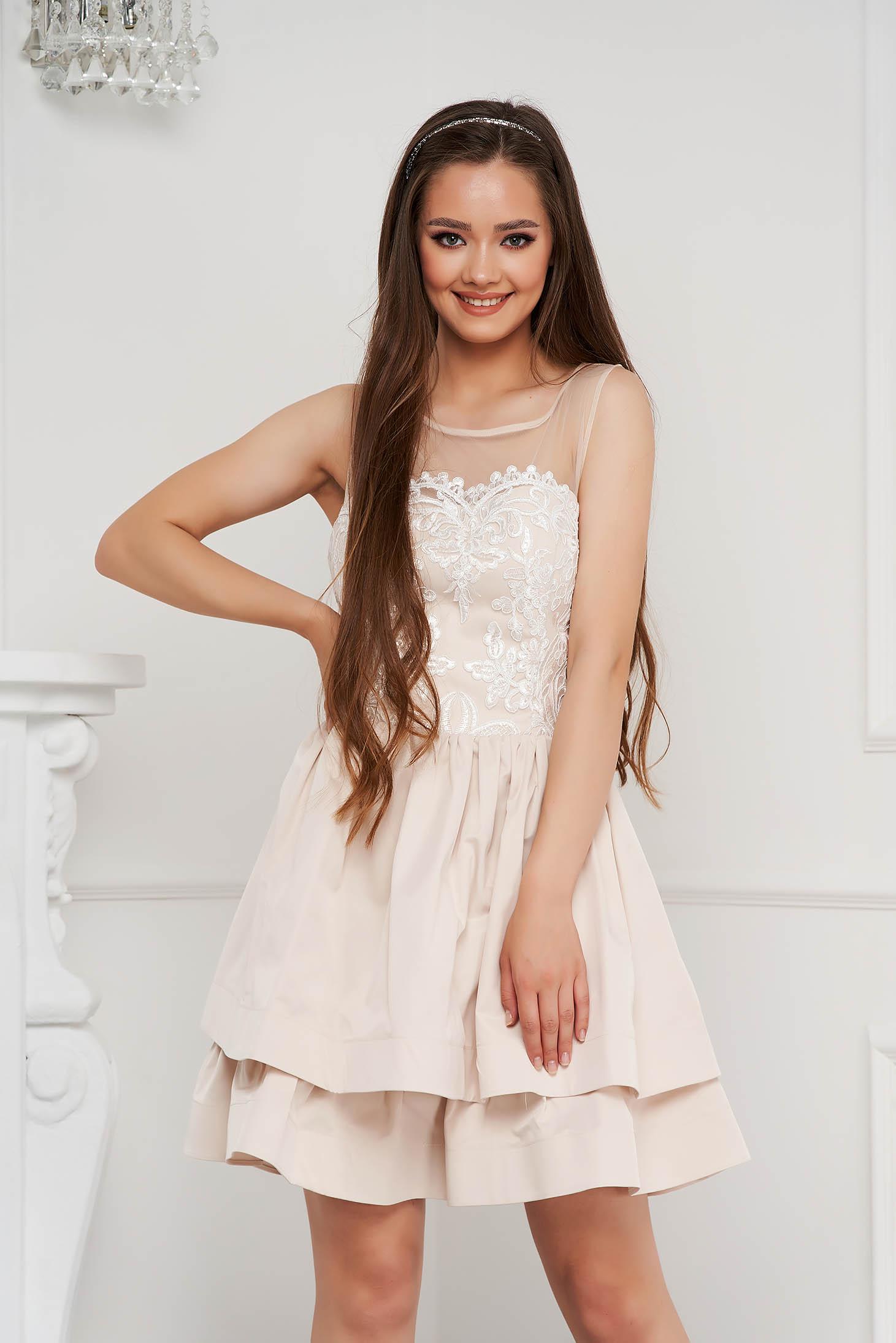 Cream dress short cut cloche from satin fabric texture sleeveless