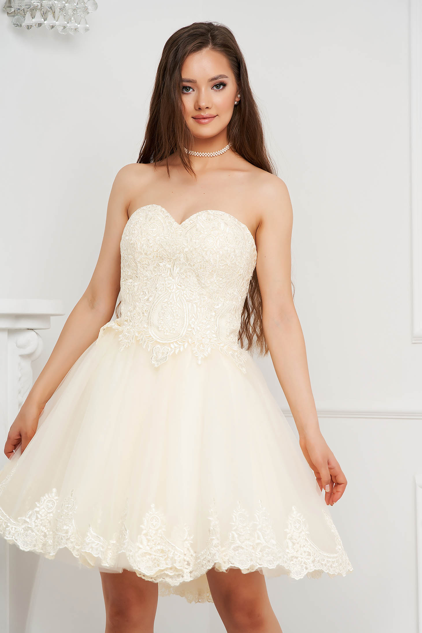 Ivory dress short cut occasional cloche from veil fabric with push-up cups with embroidery details